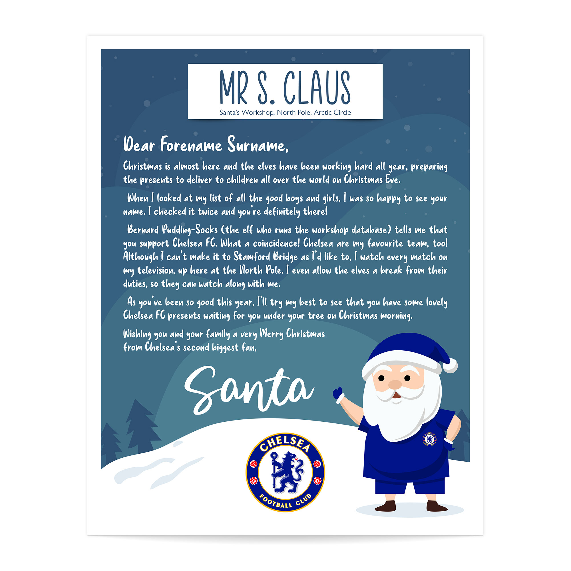 Chelsea FC Personalised Letter from Santa