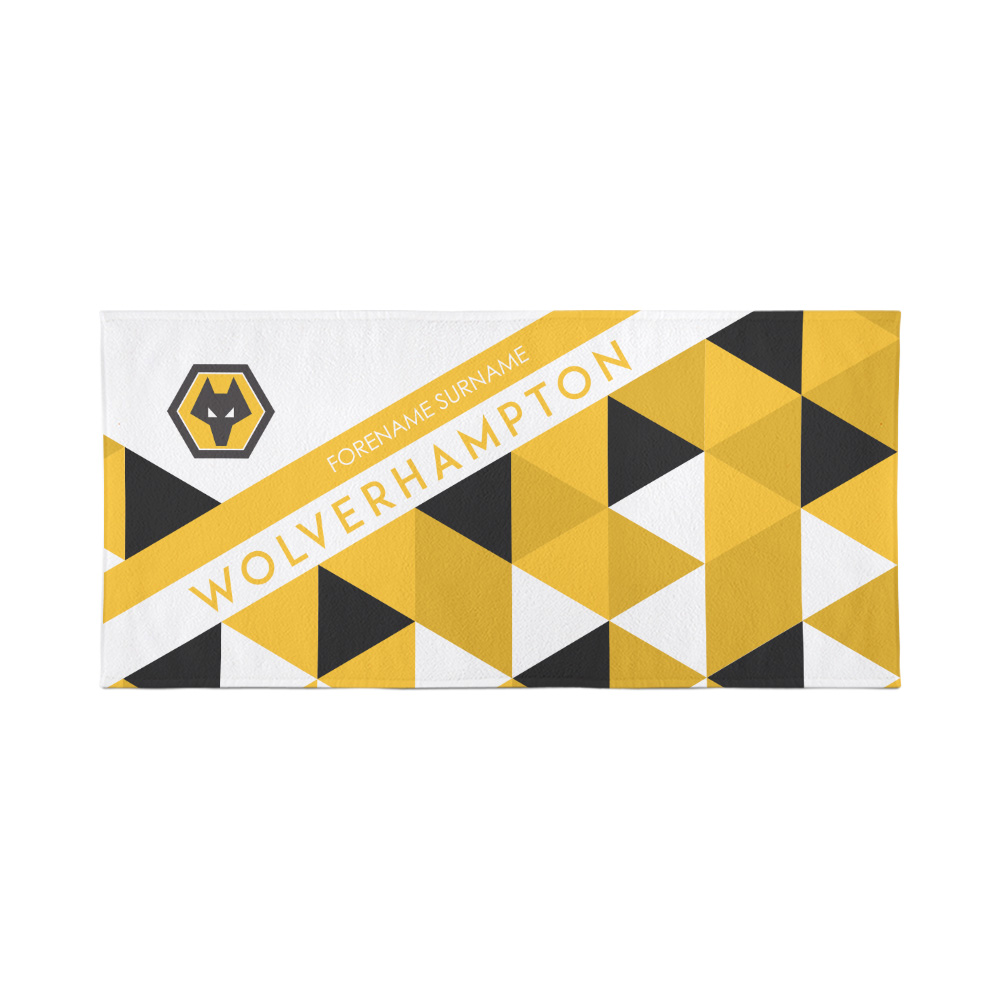 Wolverhampton Personalised Towel - Geometric Design - 70 x 140