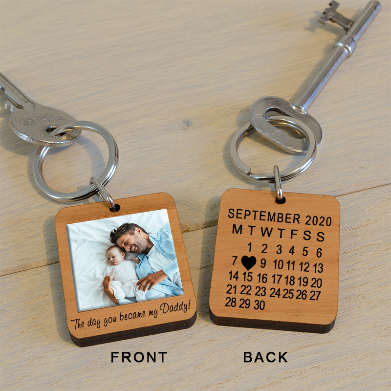 The Day You Became My Daddy Photo Key Ring