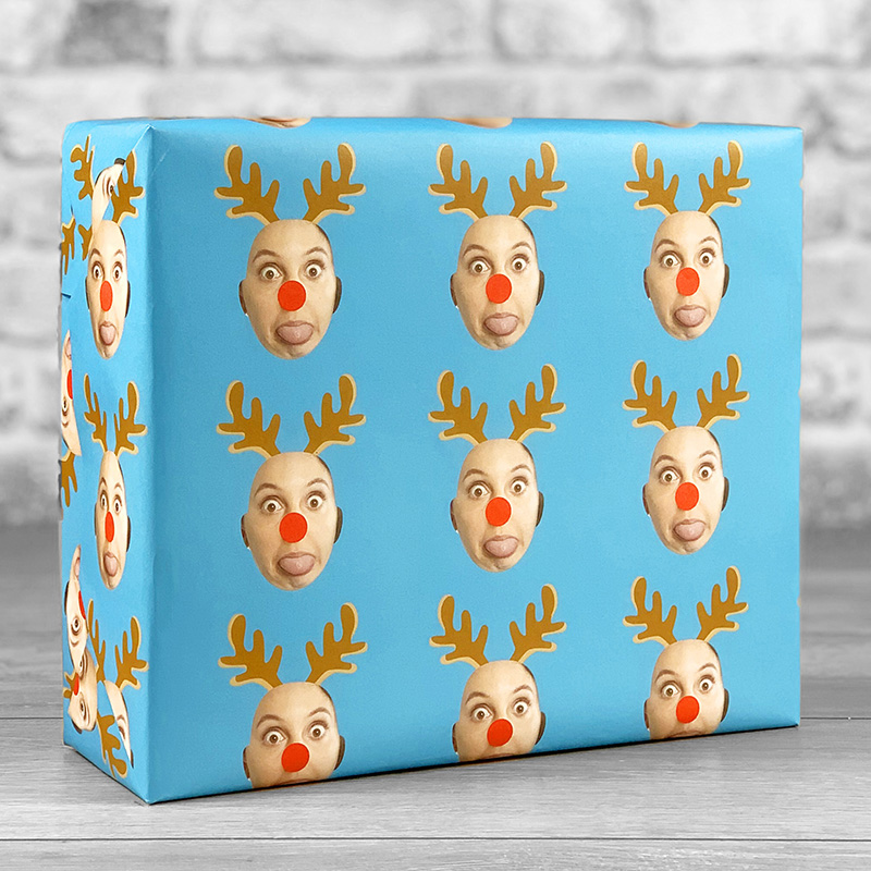 Reindeer Antlers Blue Gift Wrap with Face Upload