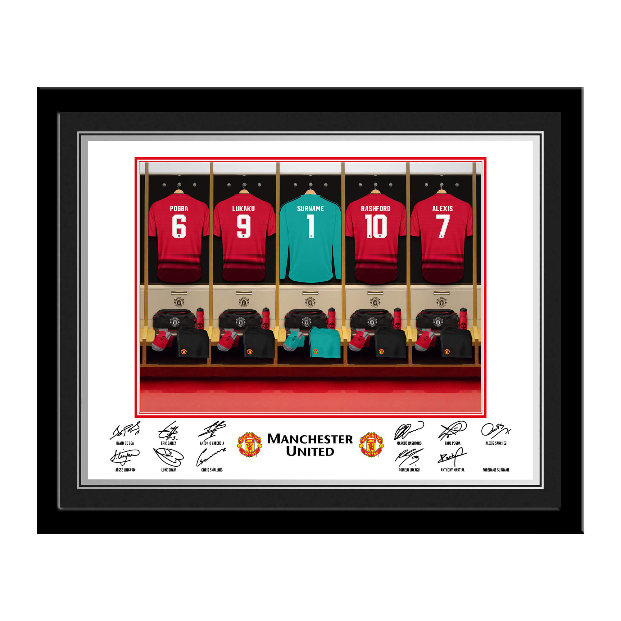 MUFC Goalkeeper Dressing Room Photo Framed
