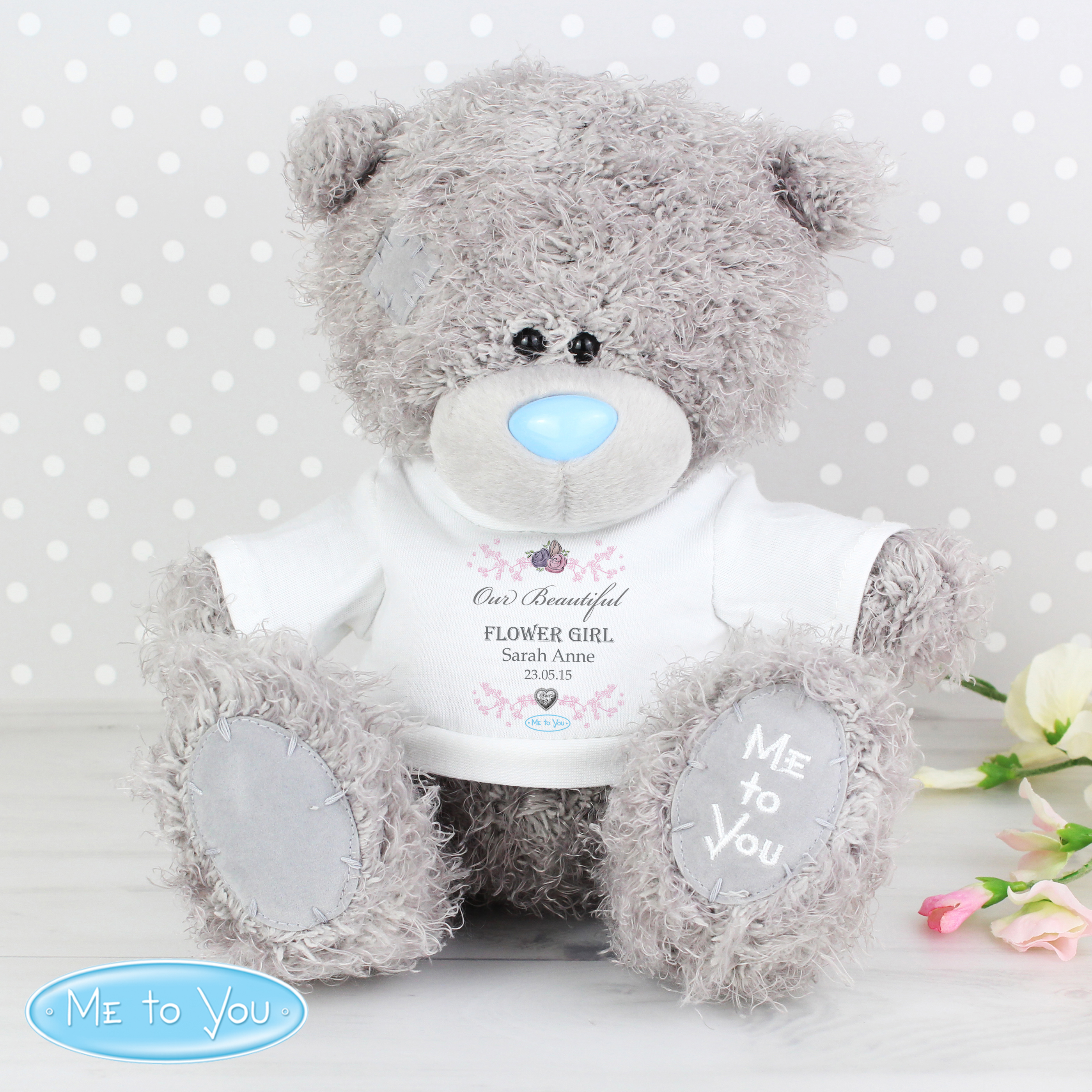 Personalised Me to You Flower Girl Teddy with T-Shirt