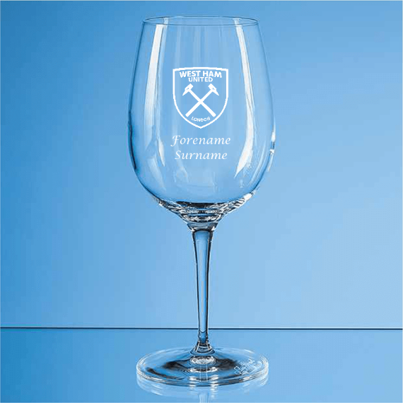West Ham United FC Personalised Crest Wine Glass