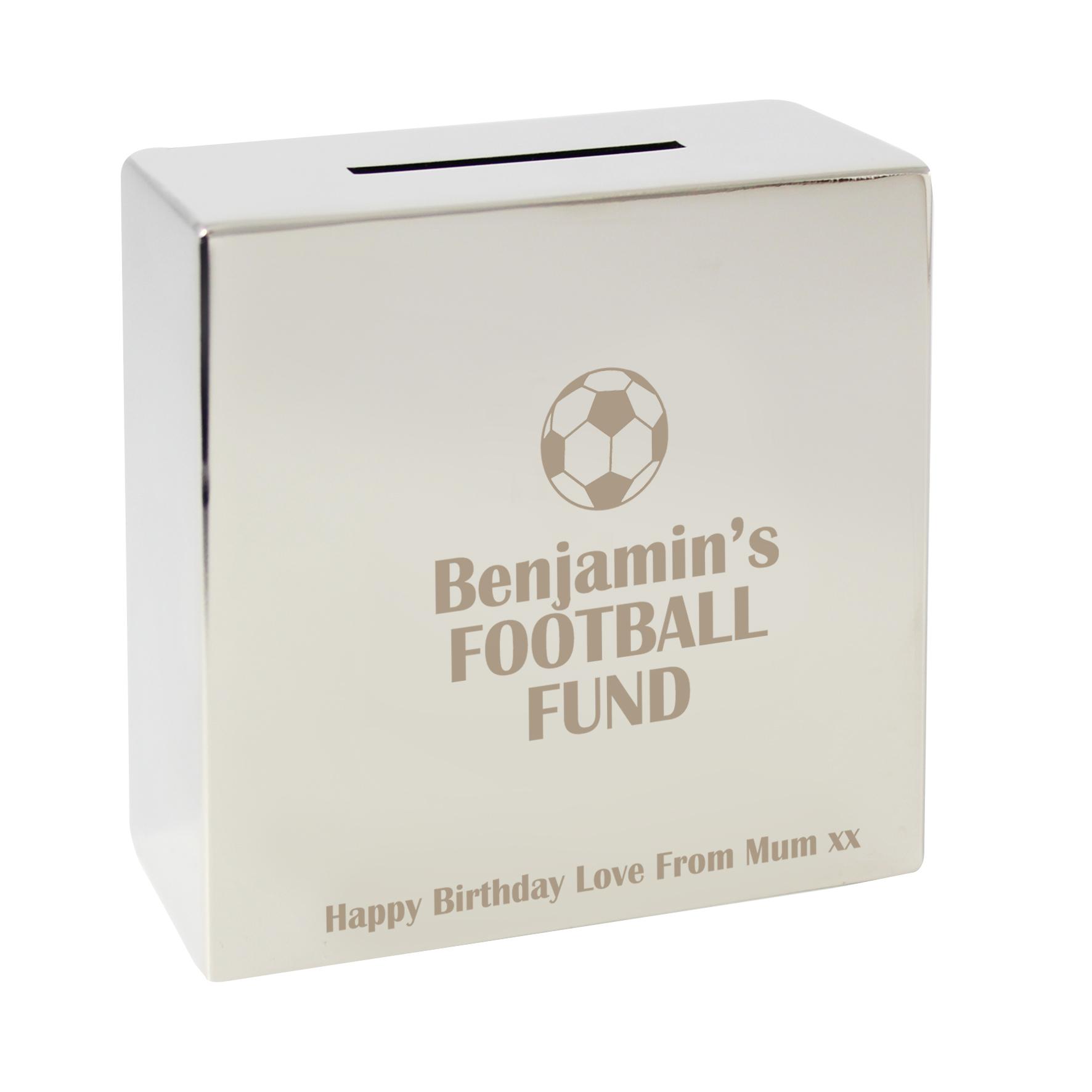 Engraved Football Square Money Box
