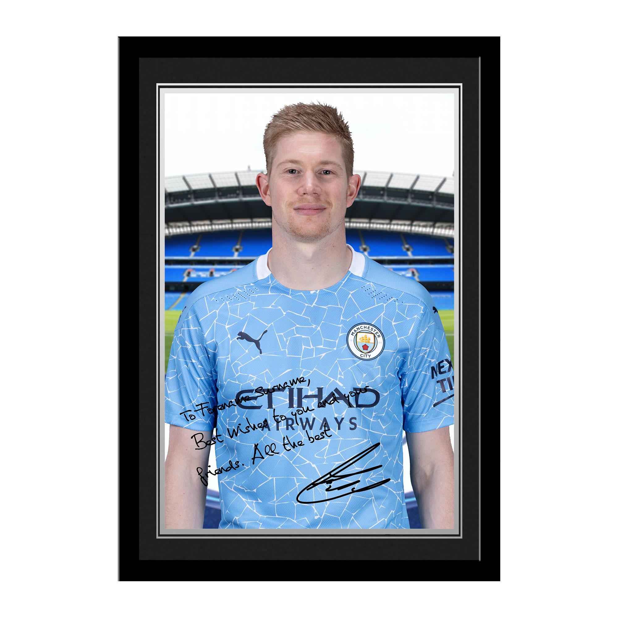 Manchester City FC De Bruyne Autograph Photo Framed