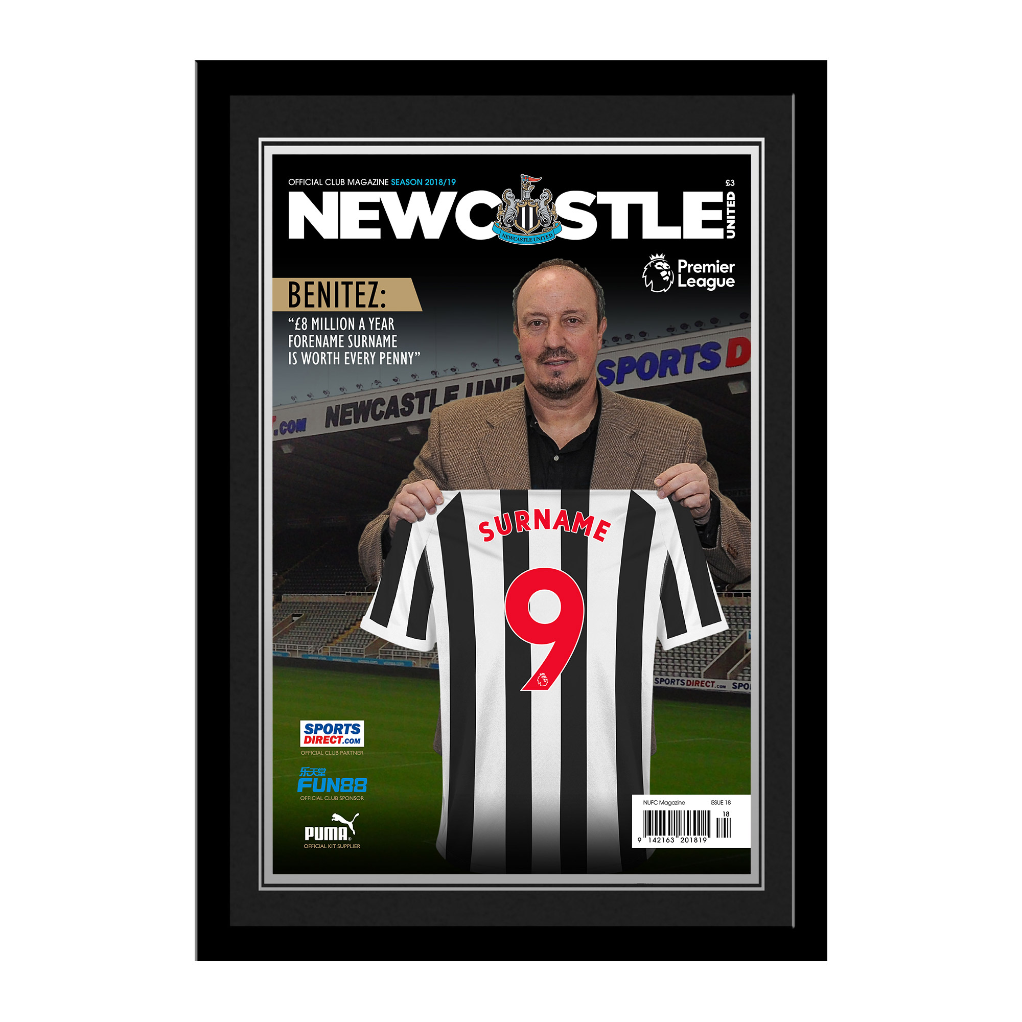 Newcastle United FC Magazine Front Cover Photo Framed