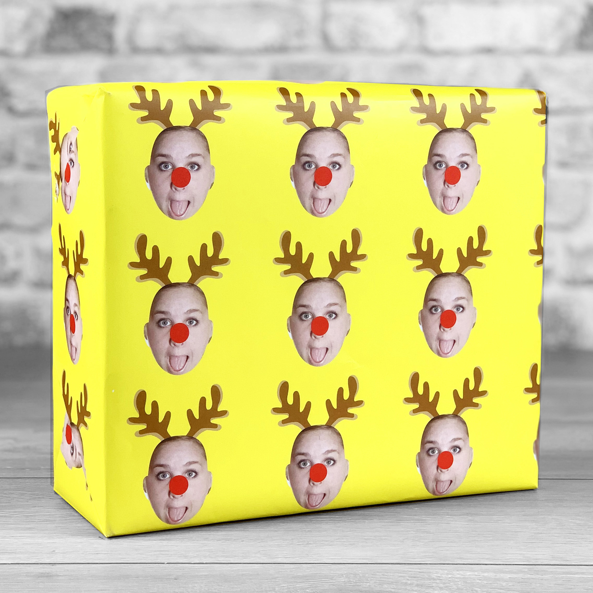 Reindeer Antlers Yellow Gift Wrap with Face Upload
