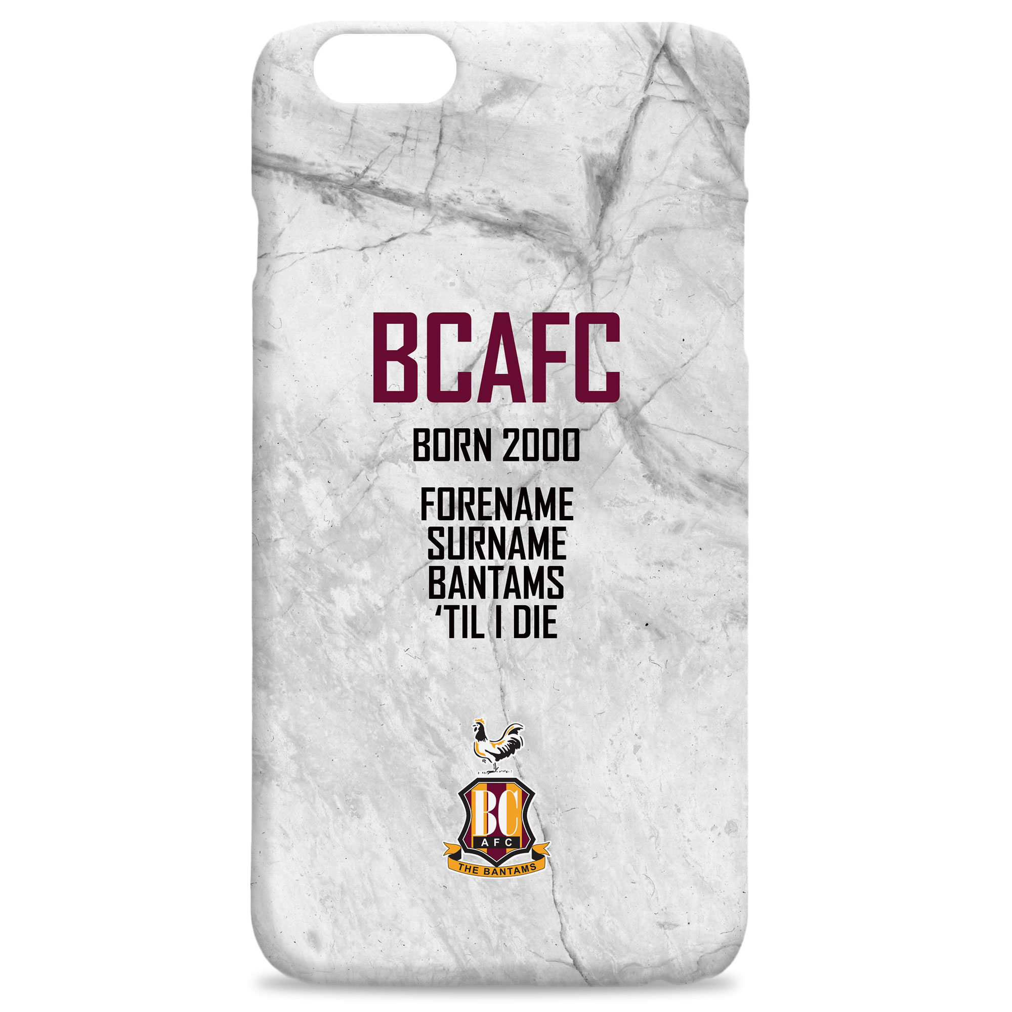 Bradford City 'Til I Die Hard Back Phone Case