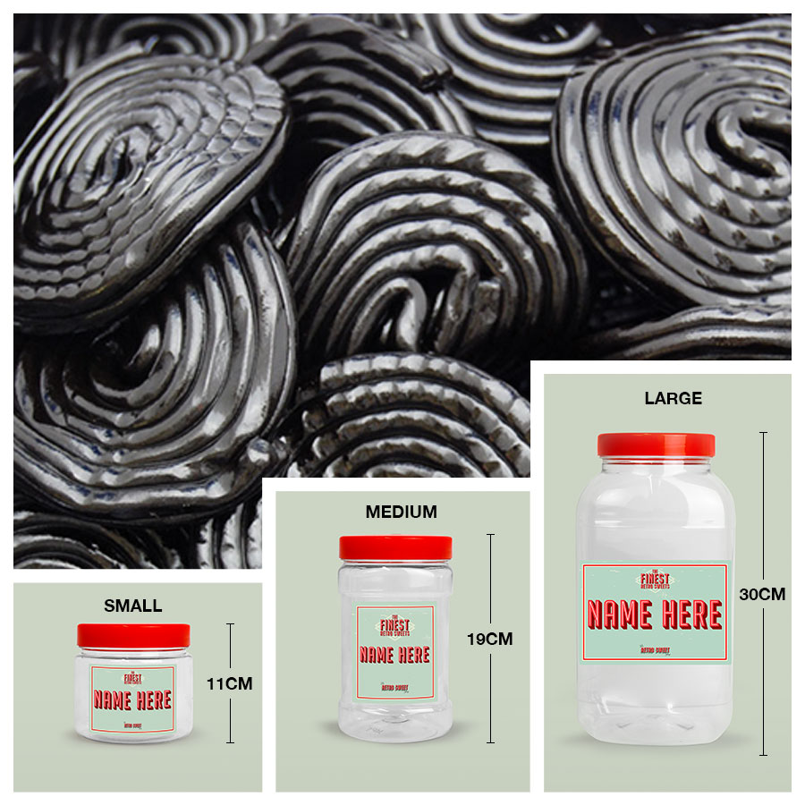 Liquorice Wheels Sweet Jar