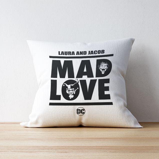 The Joker™ & Harley Quinn™ Personalised Cushion - Mad Love