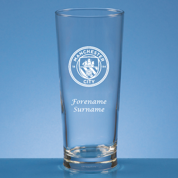 Manchester City FC Personalised Crest Straight Sided Beer Glass
