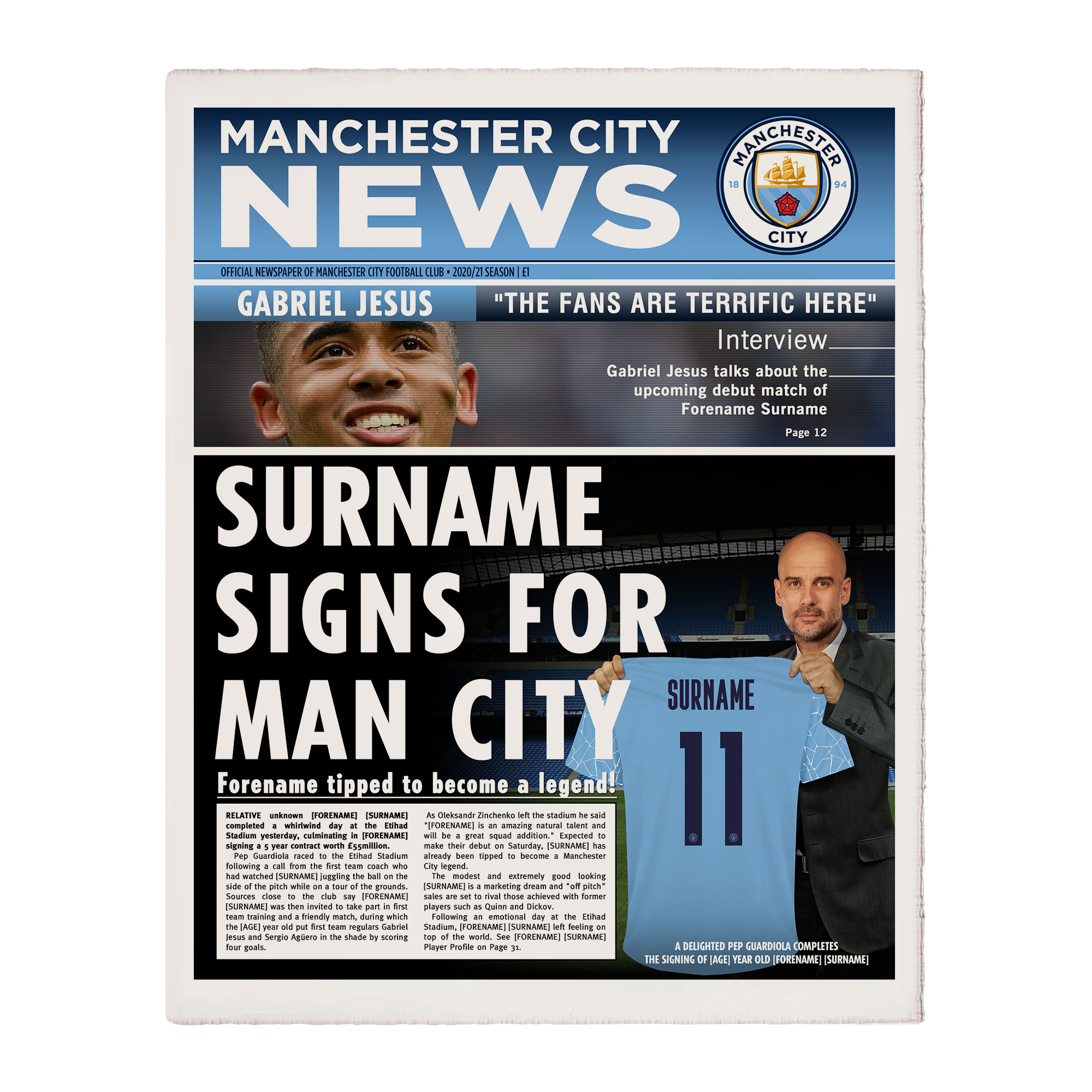 Manchester City FC News Single Page Print