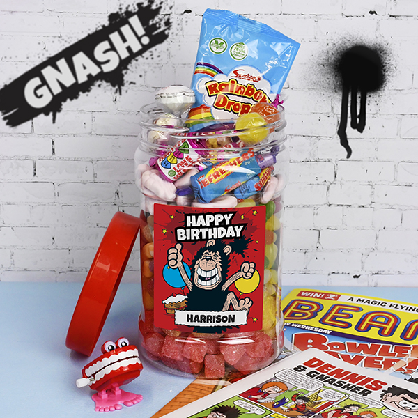 Gnasher - 'Happy Birthday' Retro Sweet Jar