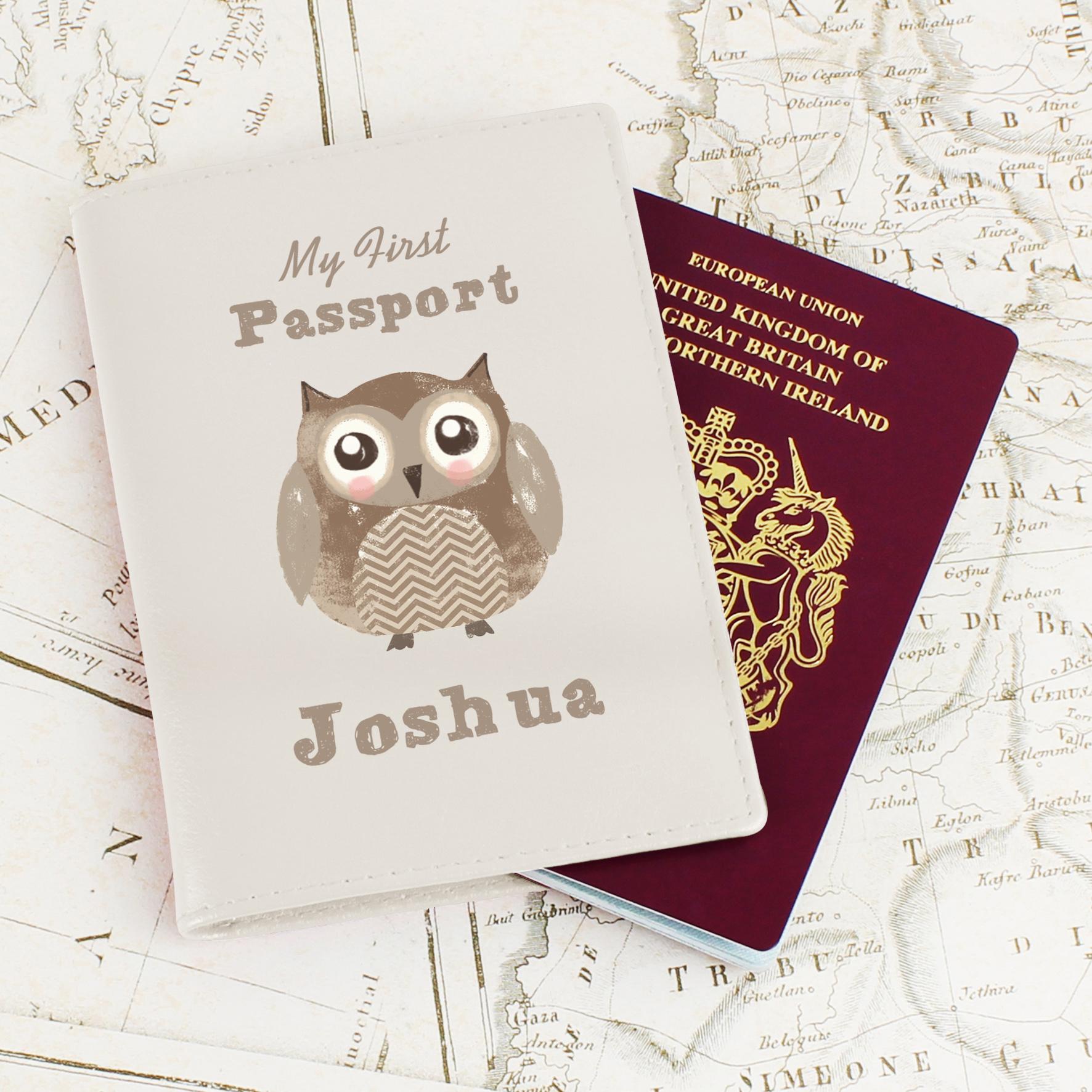 Personalised Cute Owl Cream Passport Holder