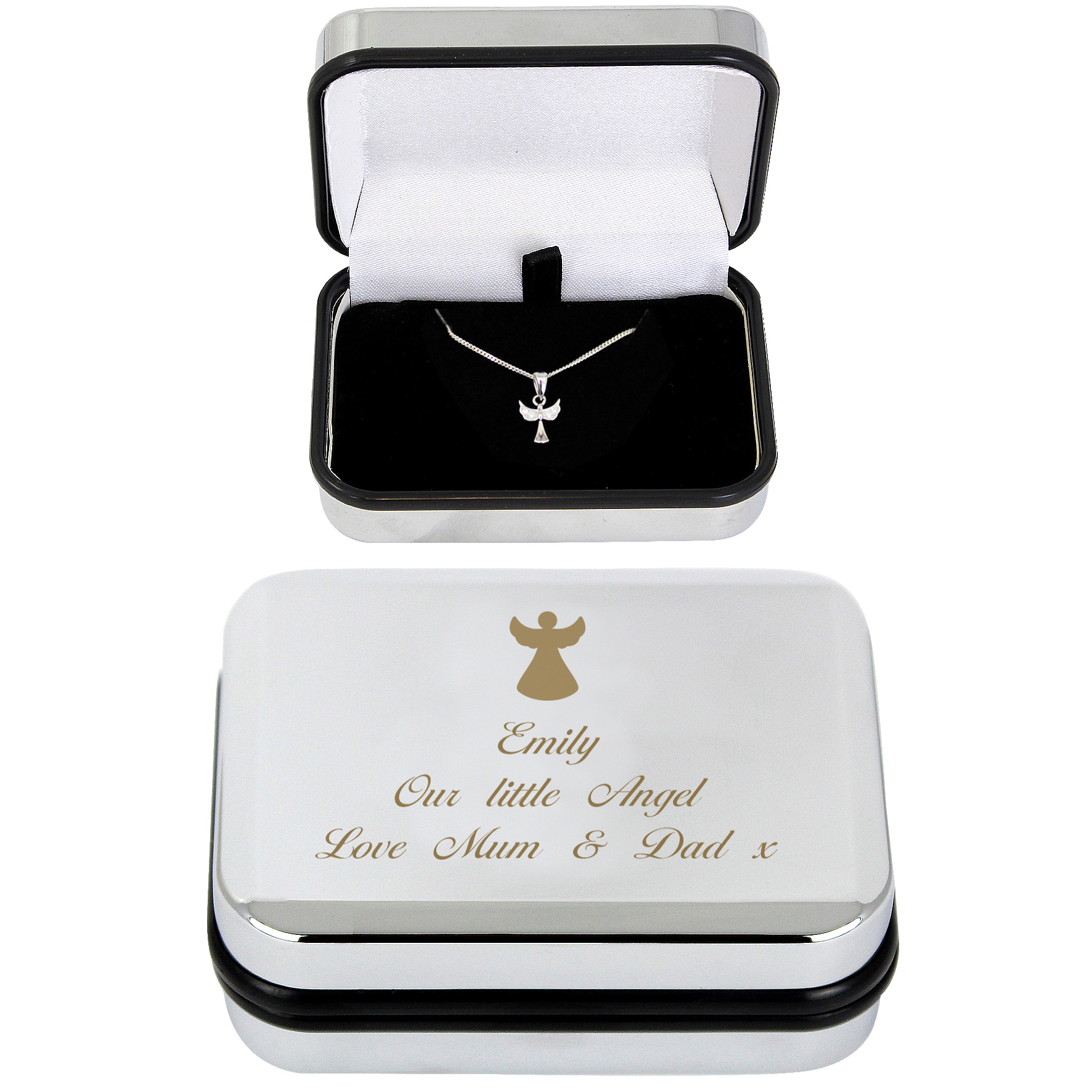 Engraved Angel Necklace & Box