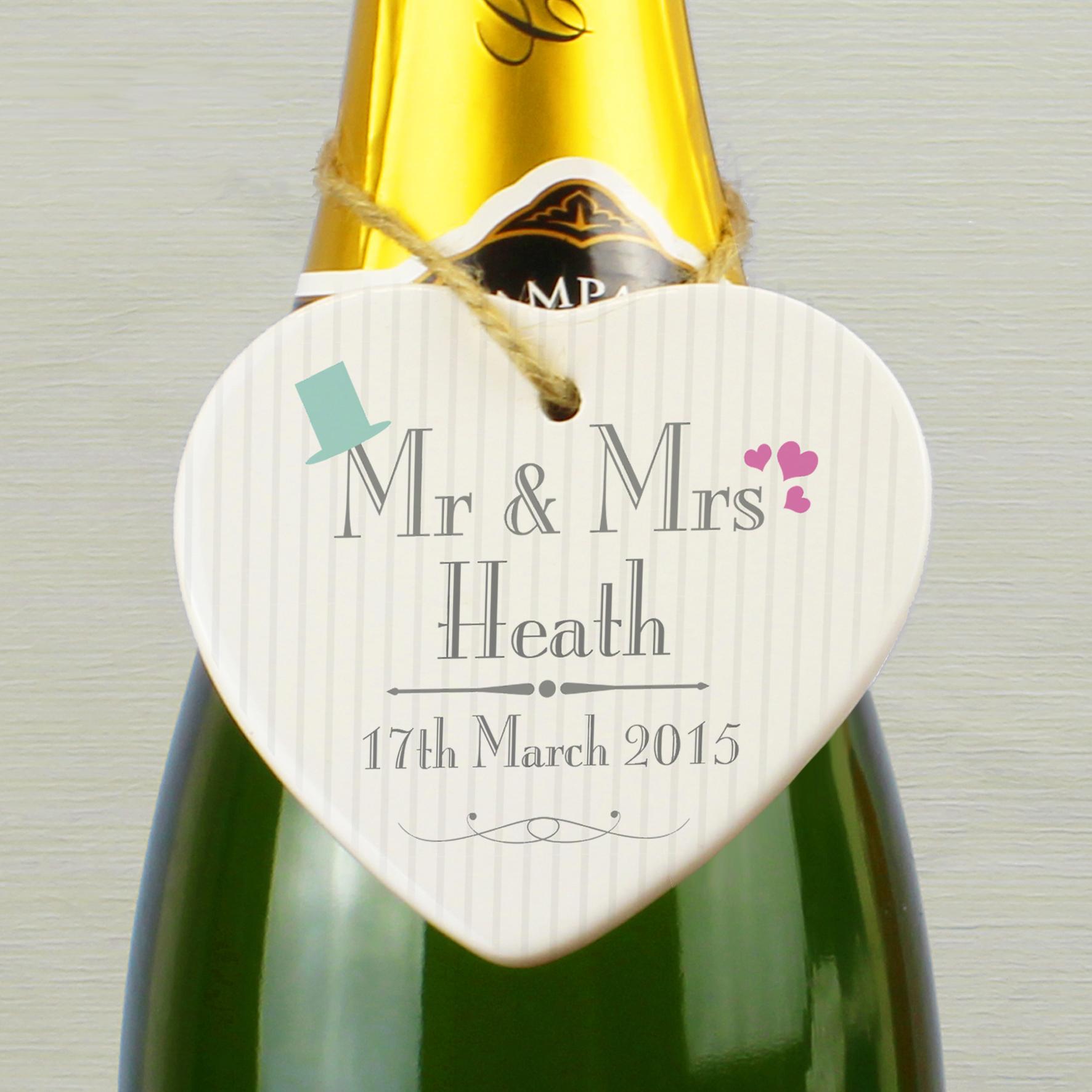 Personalised Decorative Wedding Mr & Mrs Ceramic Heart