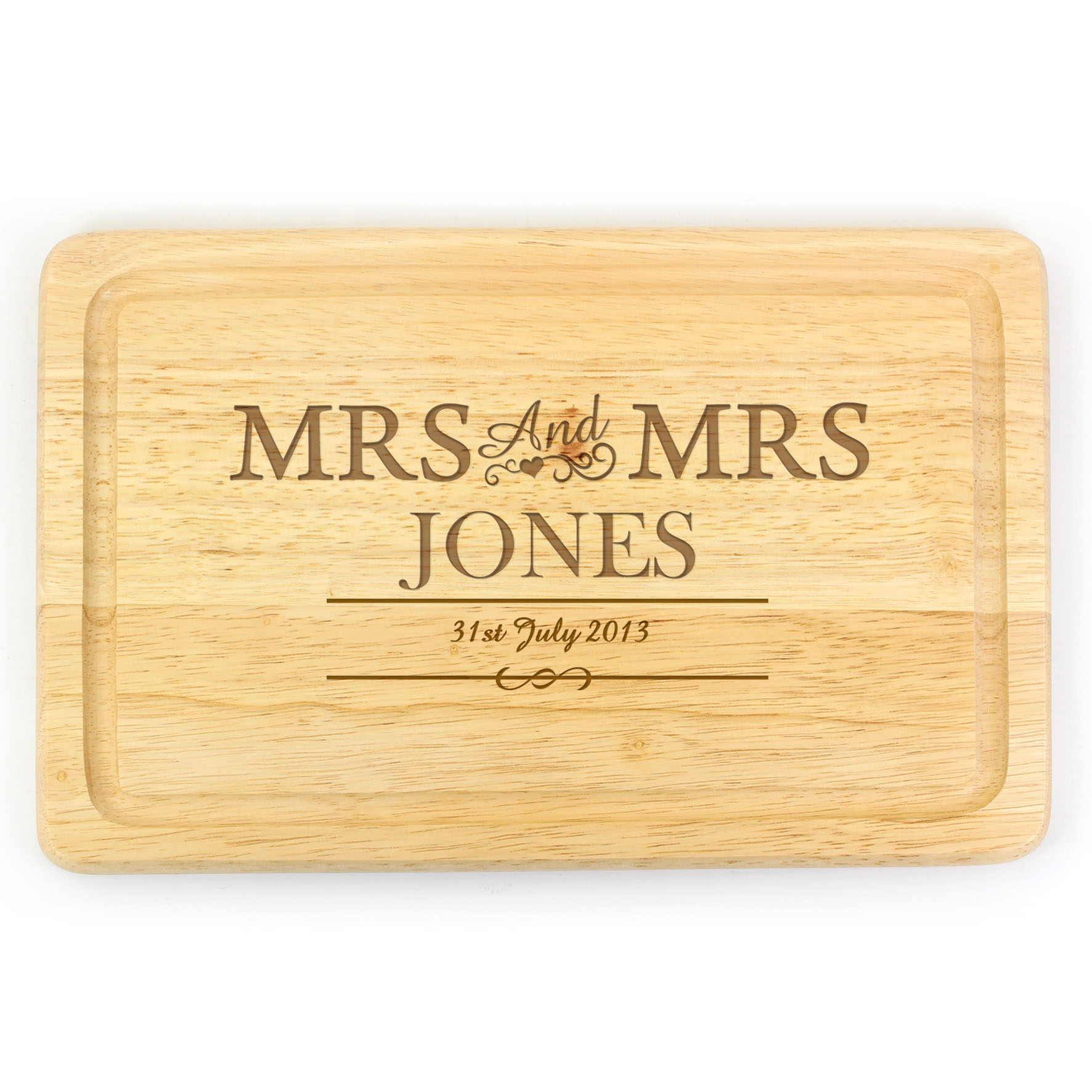 Engraved Mrs & Mrs Large Chopping Board