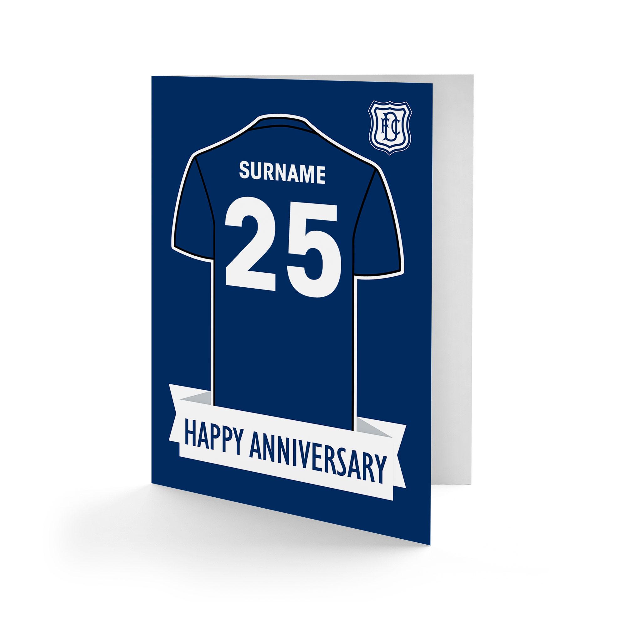 Dundee FC Shirt Anniversary Card