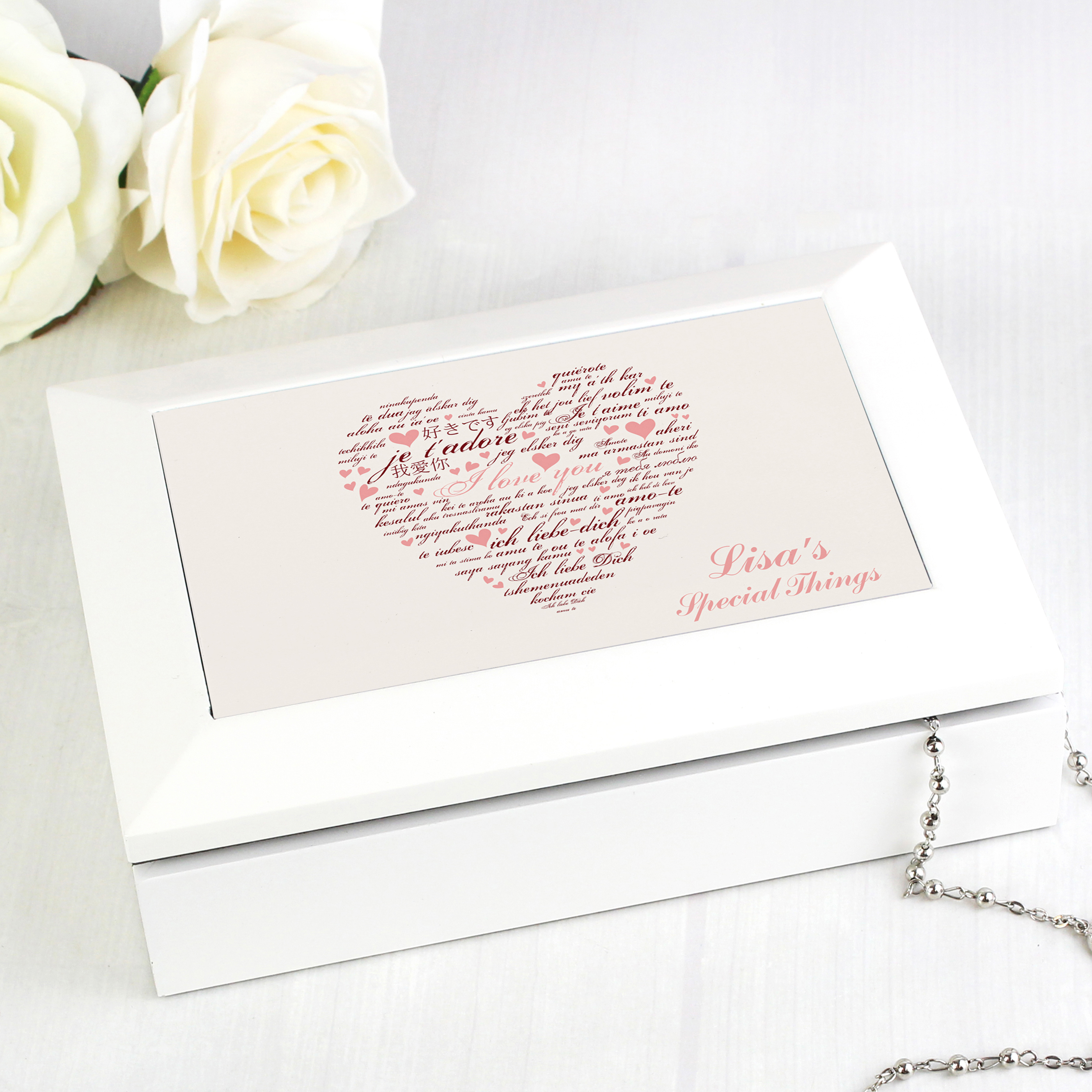 Personalised 'I Love You' White Jewellery Box