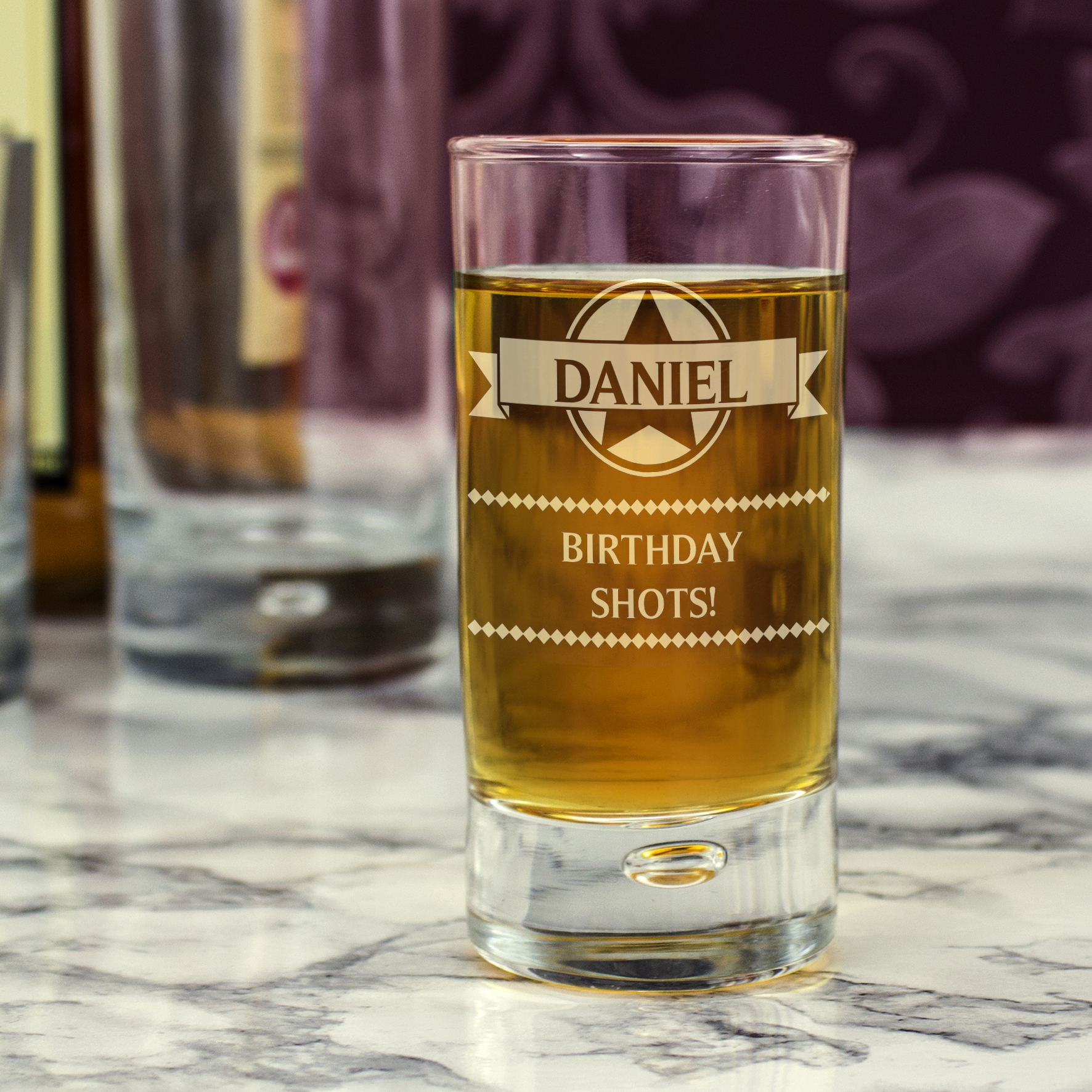 Engraved Bubble Shot Glass - Diamonds