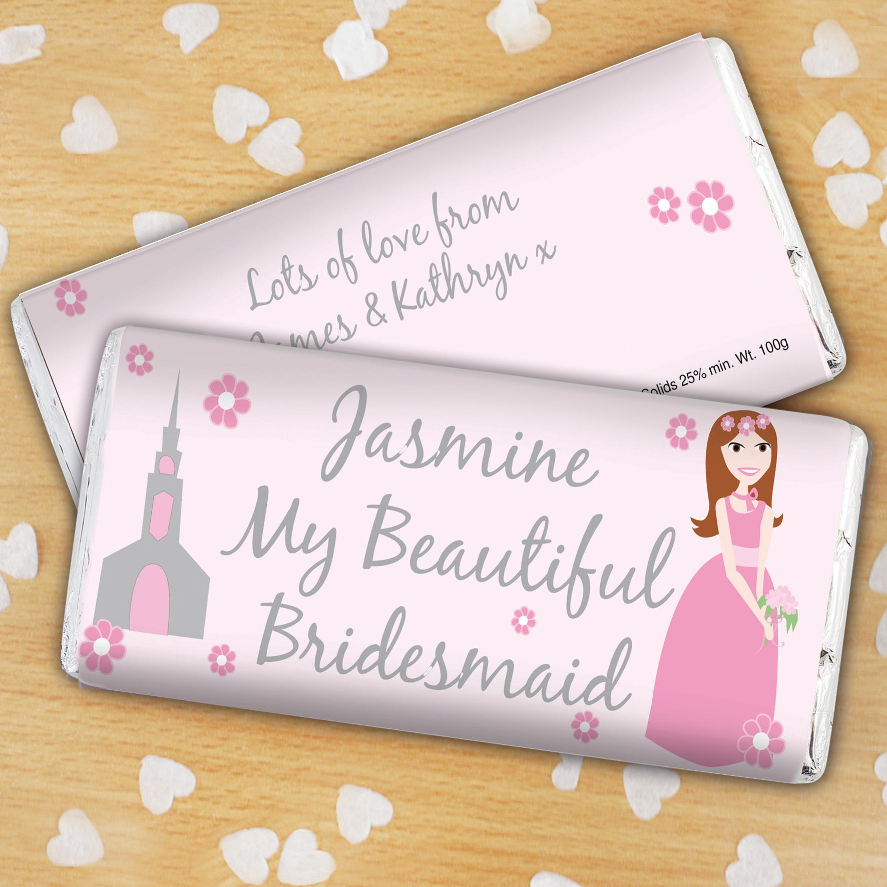 Personalised Beautiful Bridesmaid Milk Chocolate Bar