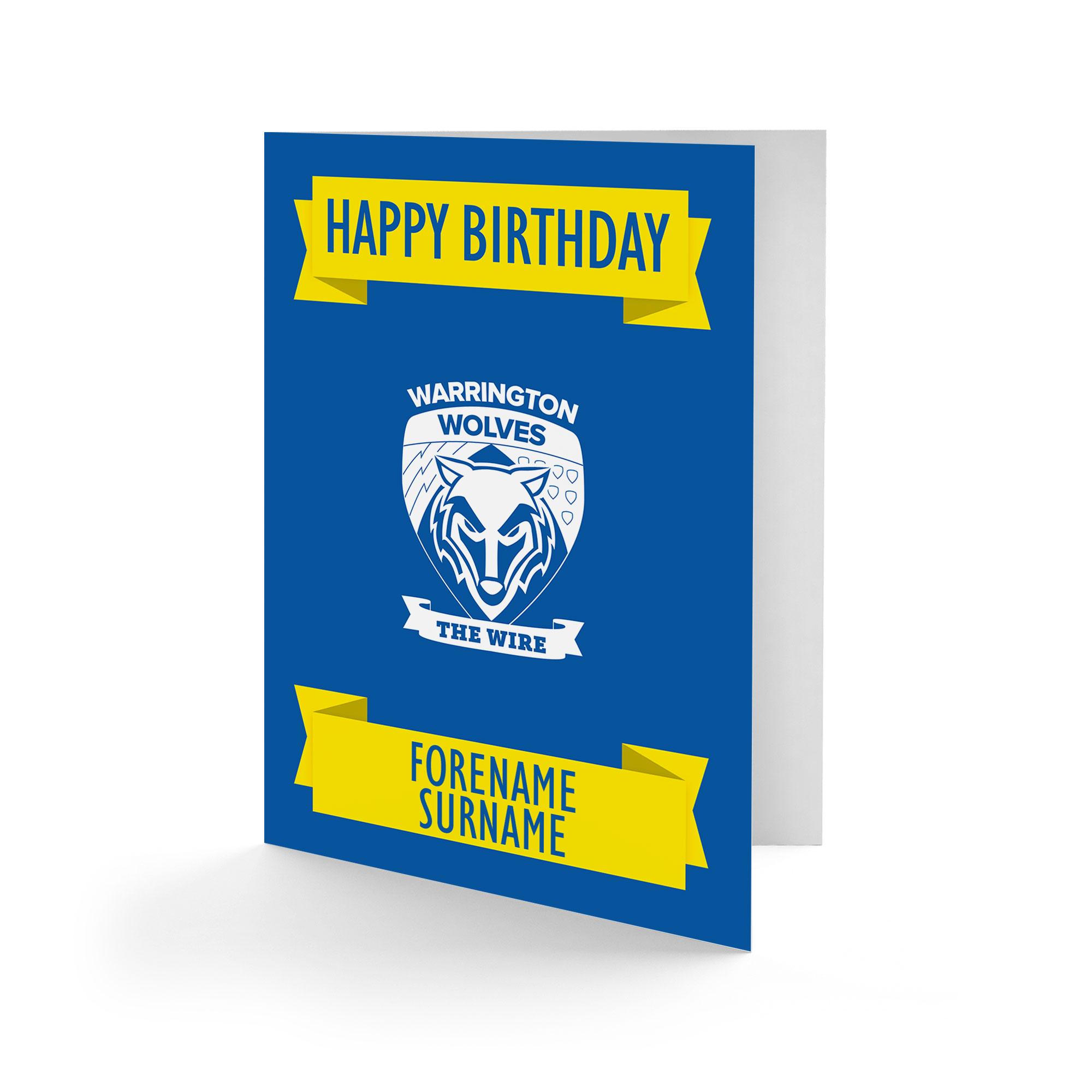 Warrington Wolves Crest Birthday Card
