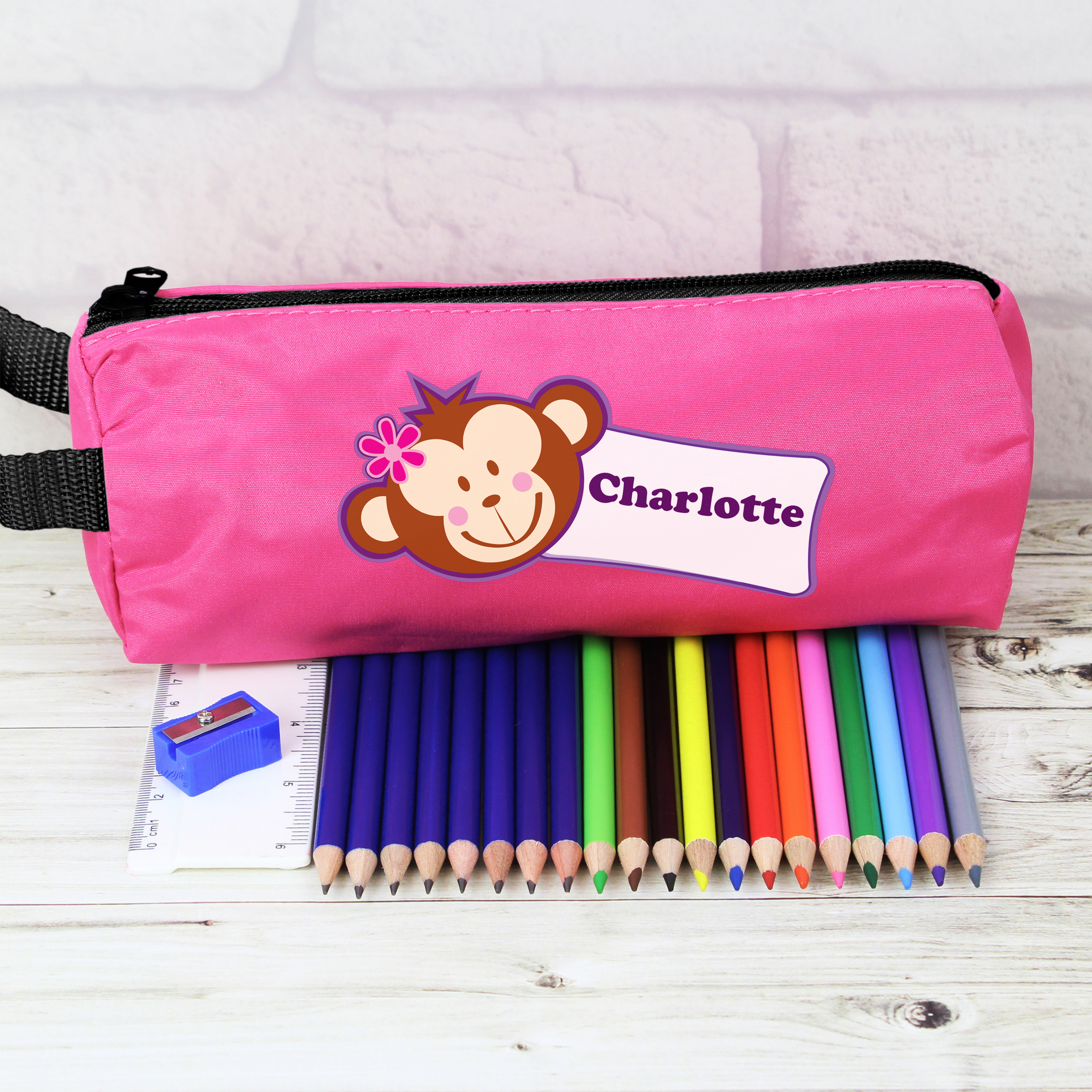 Personalised Pink Monkey Pencil Case and Personalised Contents