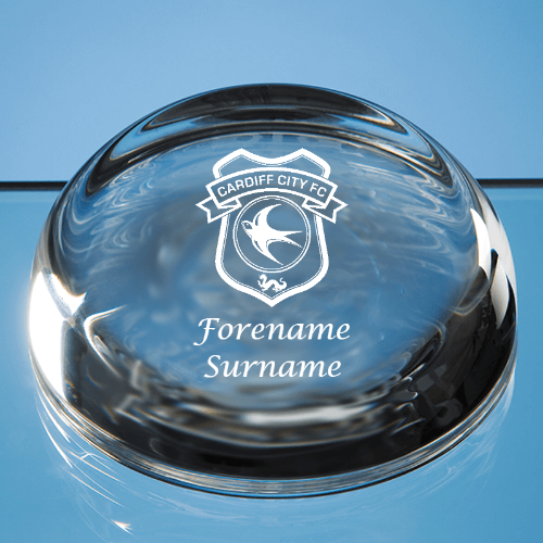 Cardiff City FC Crest Optical Crystal Flat Top Dome Paperweight