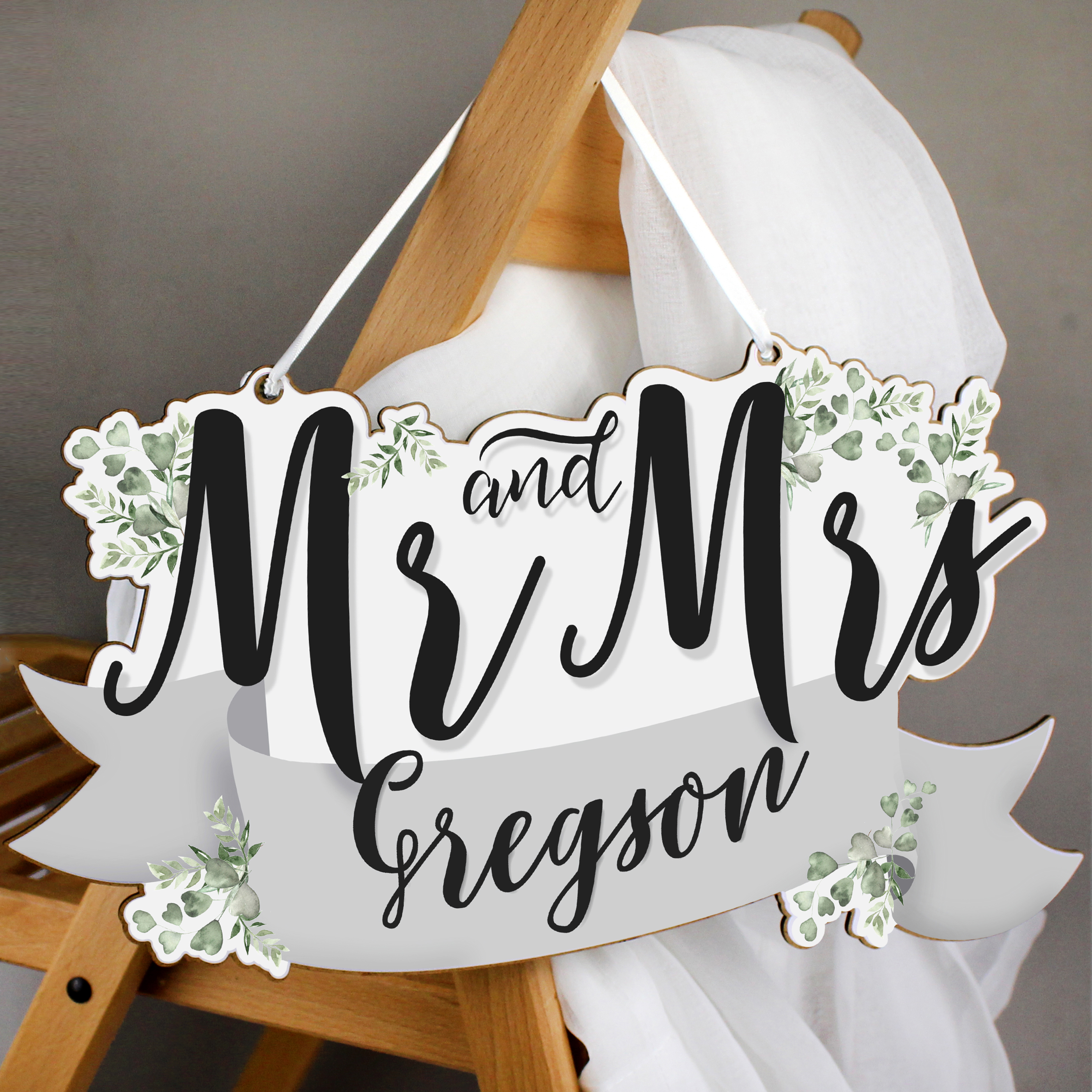 Personalised Mr & Mrs Wooden Hanging Decoration