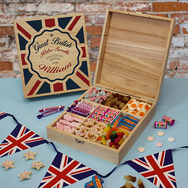 Great British Retro Sweets Box. Lifestyle Photo