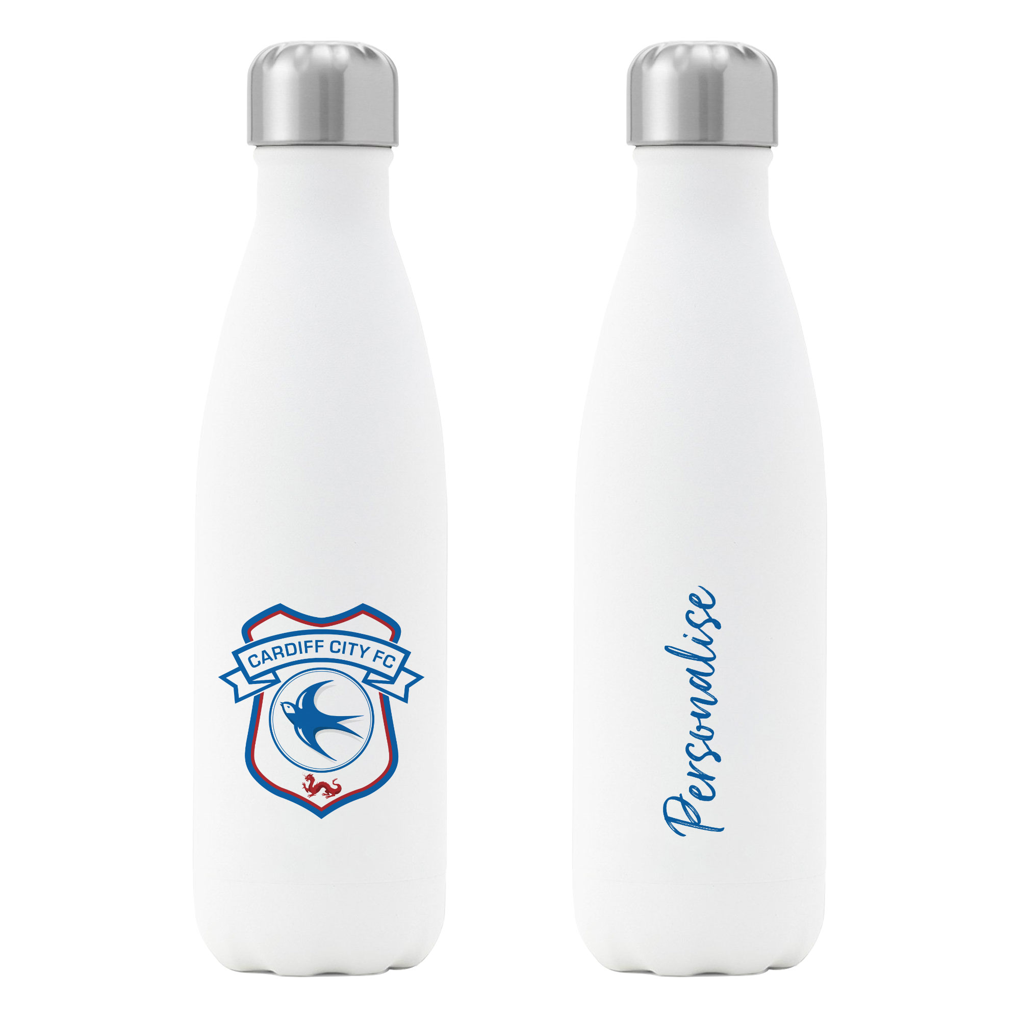 Cardiff City FC Crest Insulated Water Bottle - White