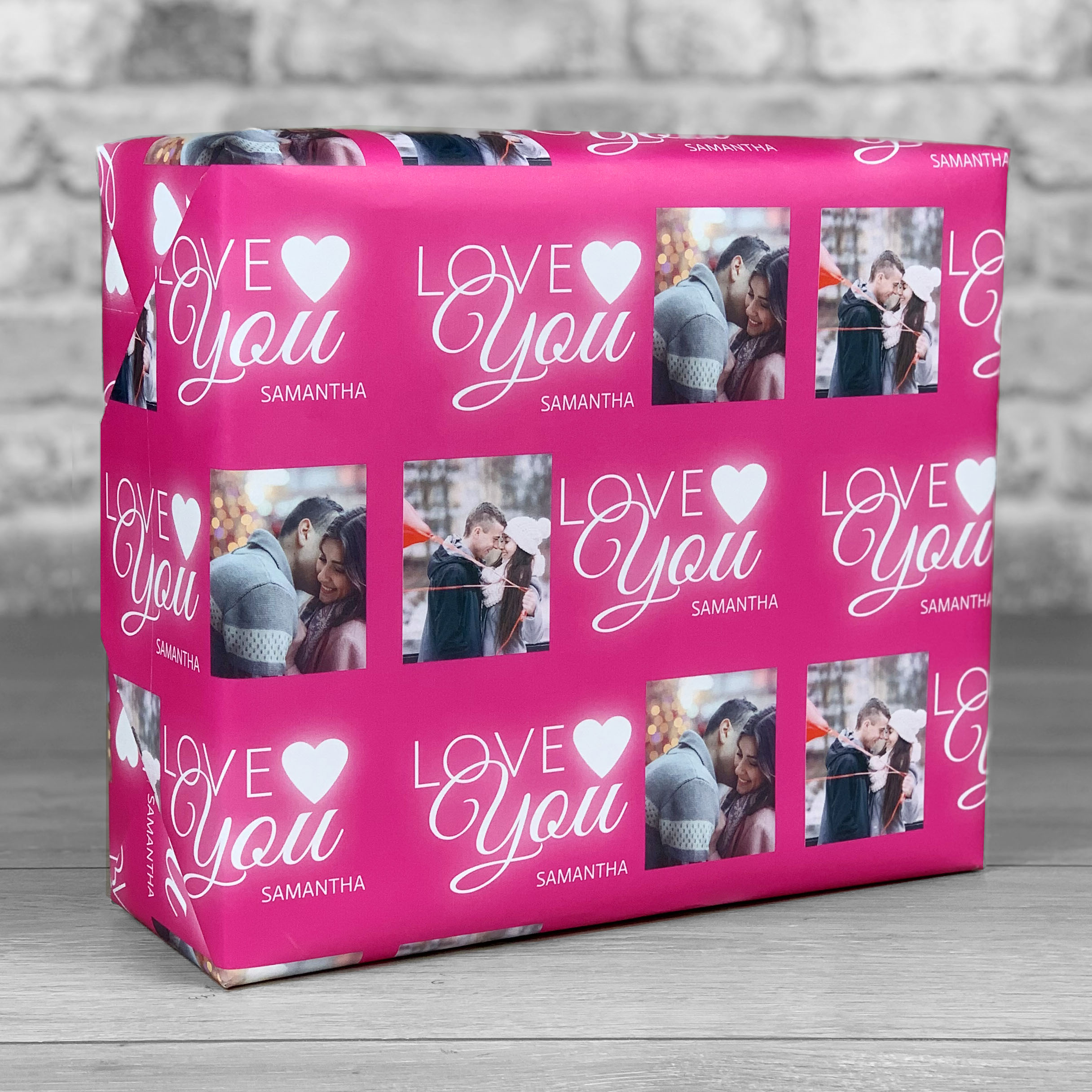 Love You Pink Gift Wrap with Photo Upload
