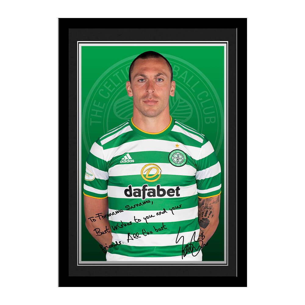 Celtic FC Brown Autograph Photo Framed