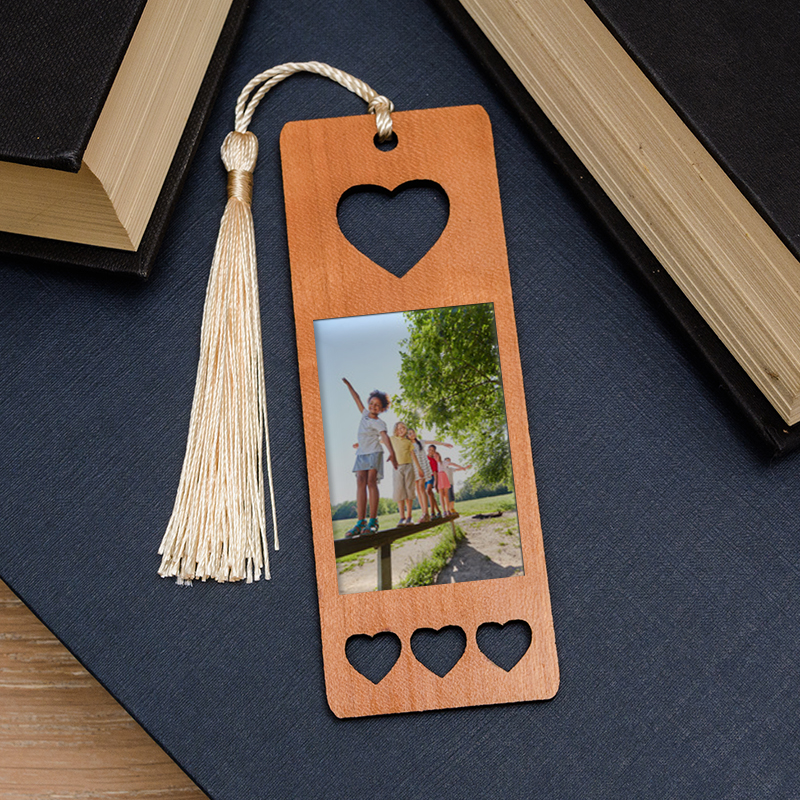 Photo Upload Heart Wooden Bookmark