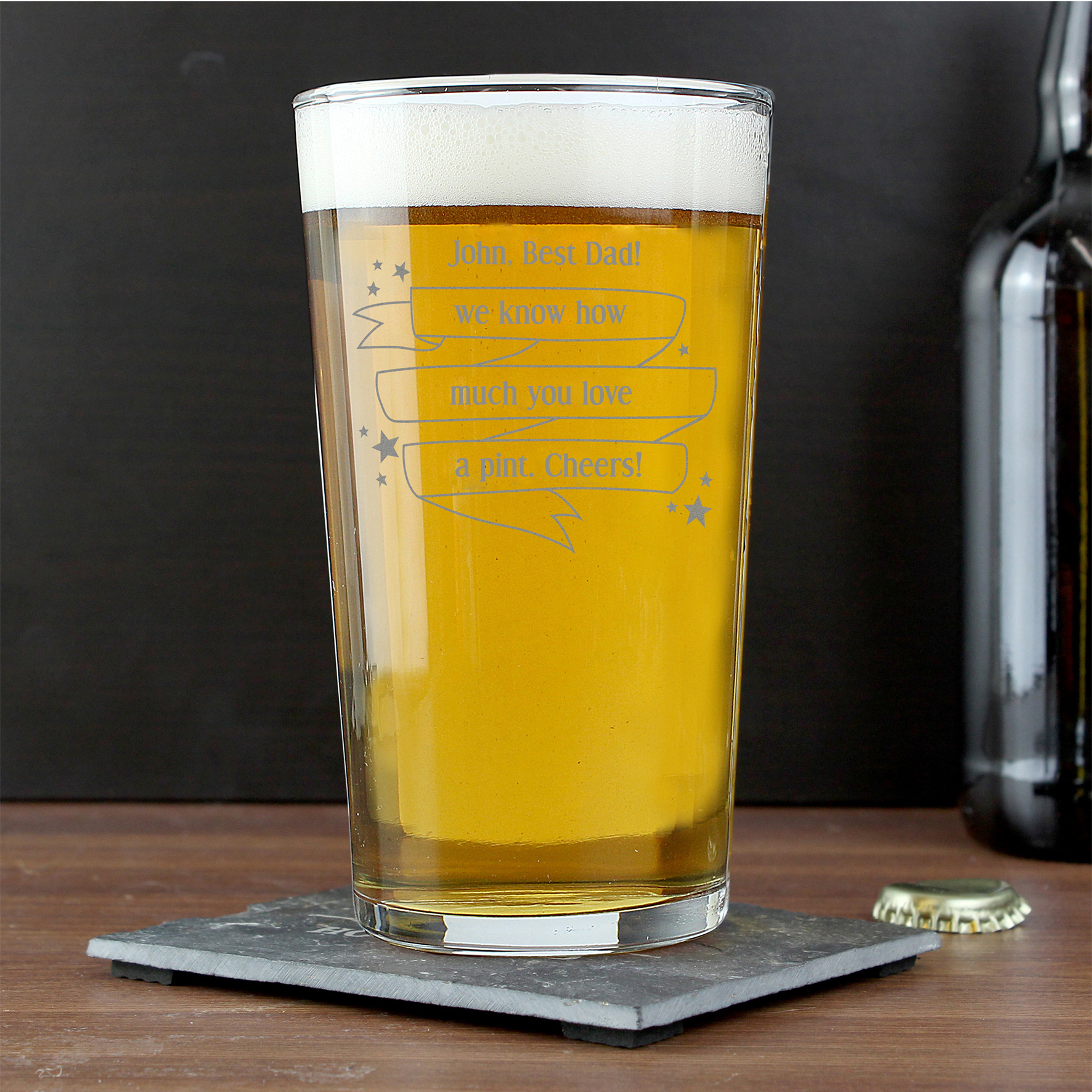 Engraved Shining Star Pint Glass