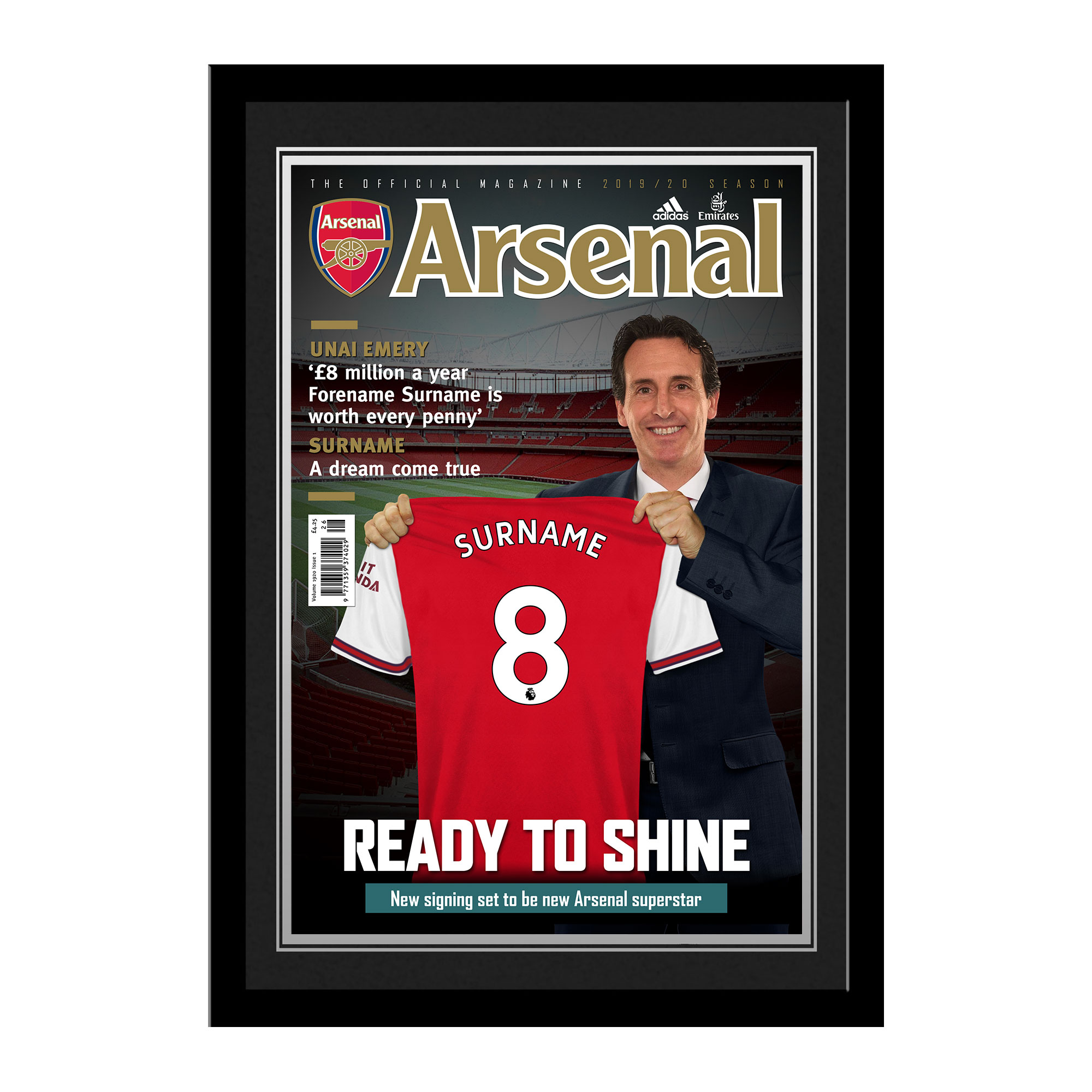 Arsenal FC Magazine Front Cover Photo Framed