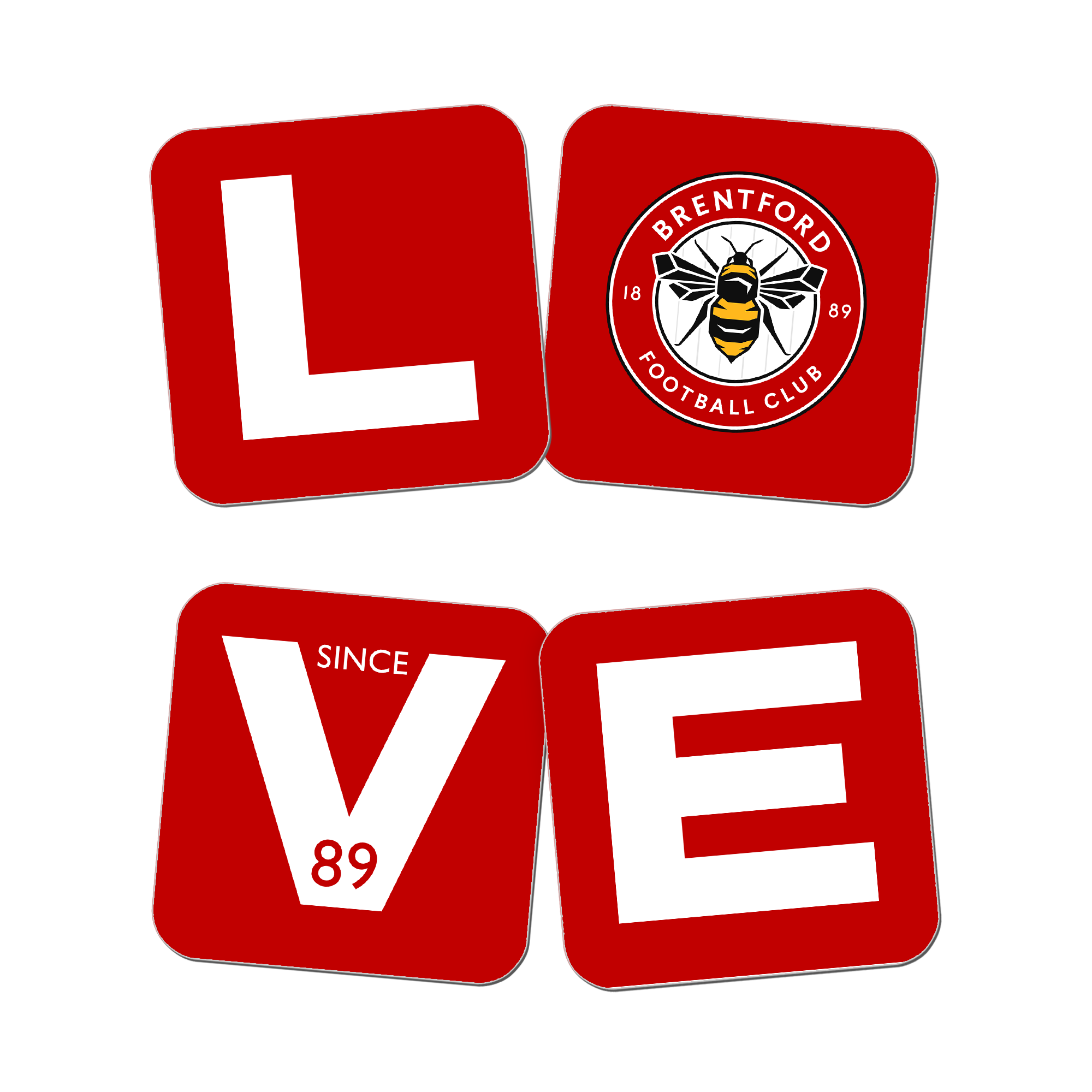 Brentford Love Coasters (x4)