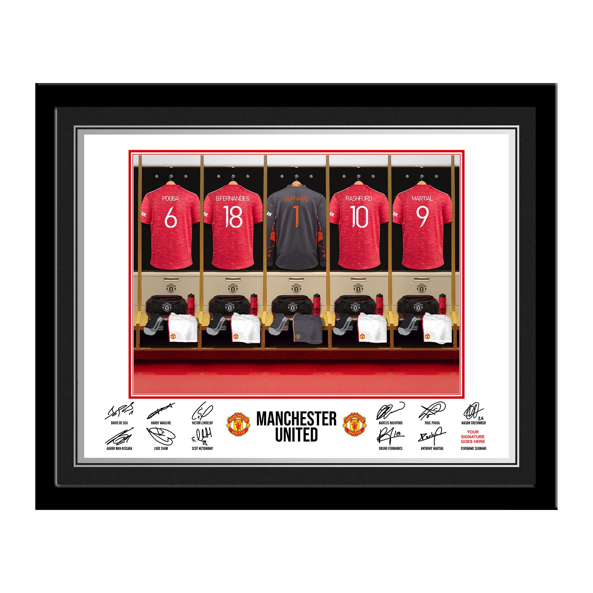 MUFC Goalkeeper Dressing Room Photo Framed