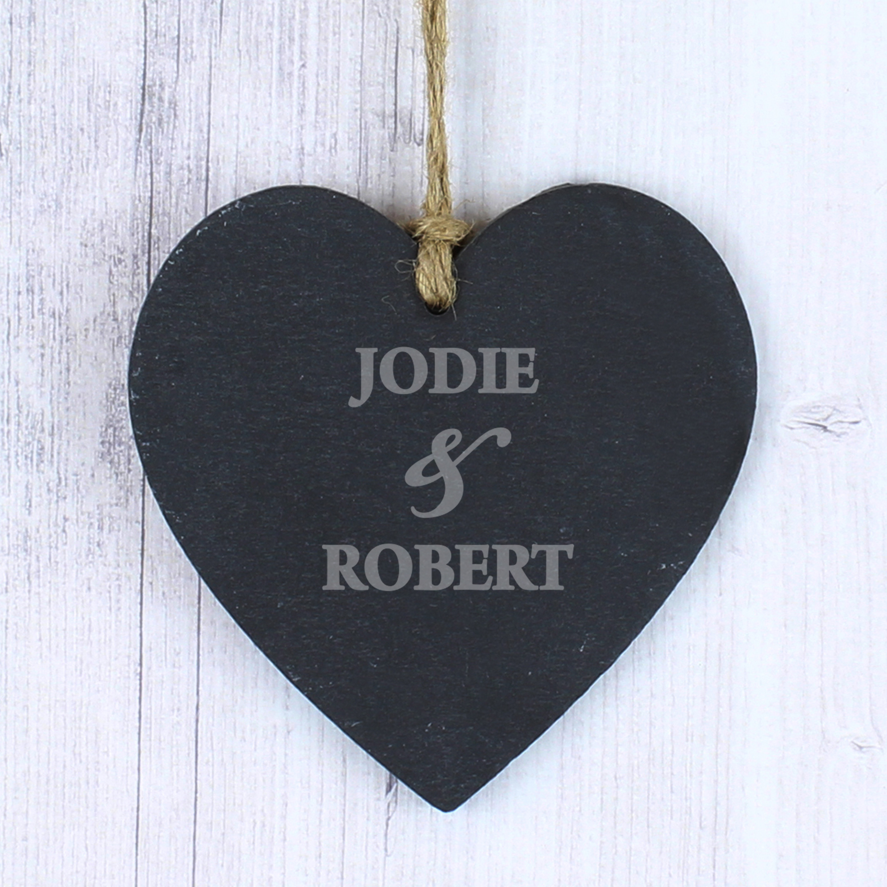 Engraved Couples Slate Heart Decoration