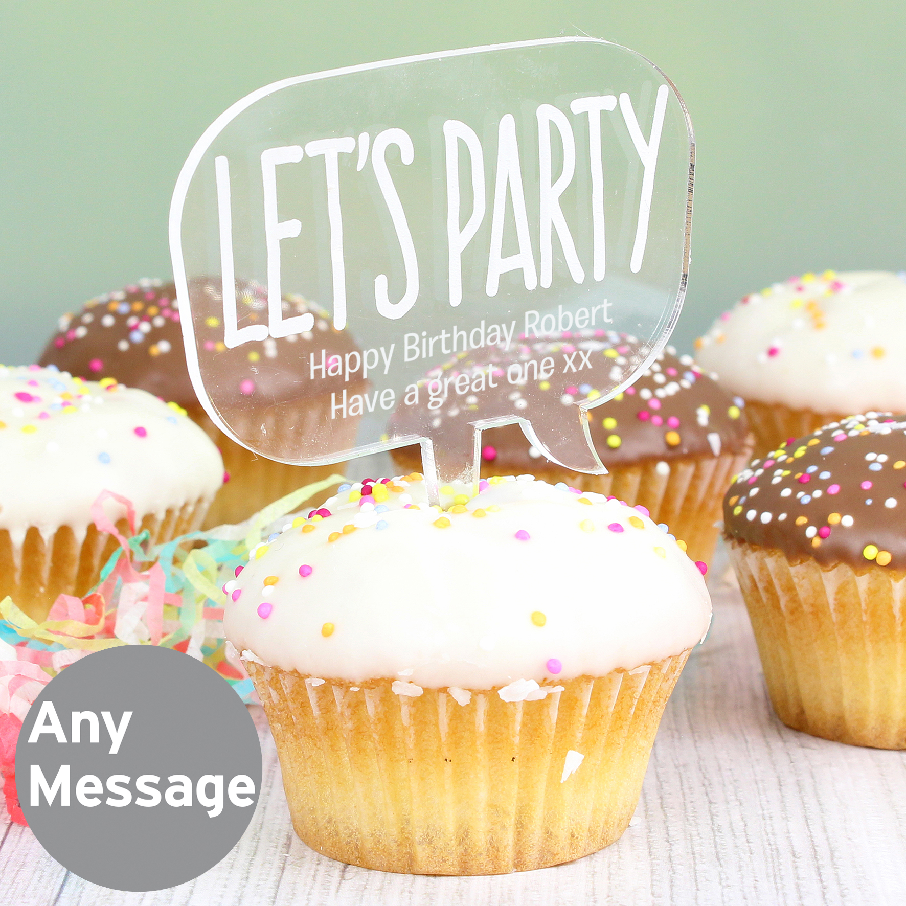Engraved Acrylic Lets Party Cake Topper