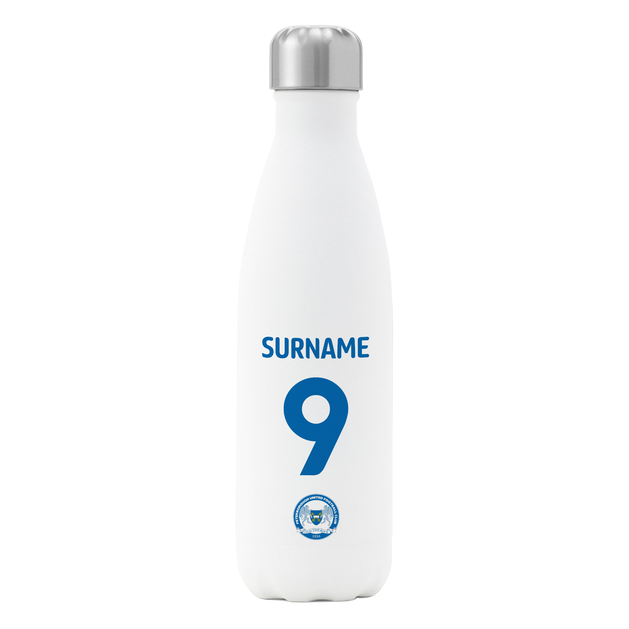 Peterborough United FC Back of Shirt Insulated Water Bottle - White