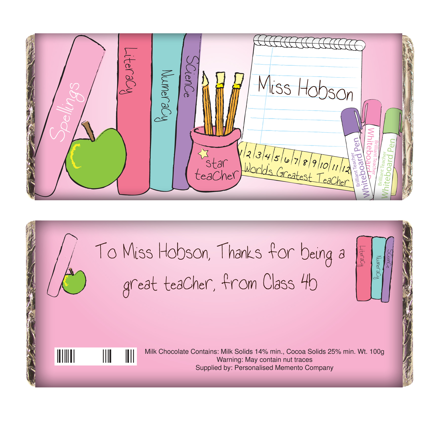 Personalised Pink Teachers Desk Milk Chocolate Bar