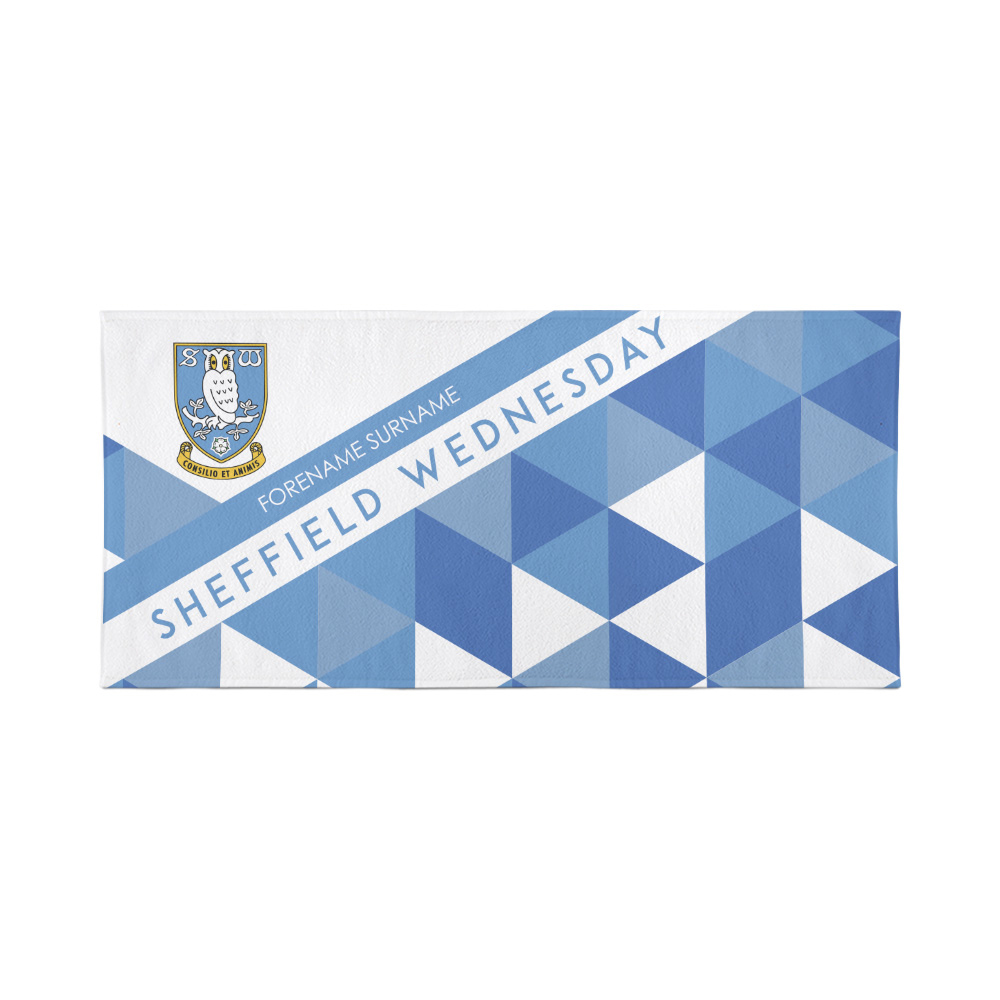 Sheffield Wednesday Personalised Towel - Geometric Design - 80 x 160
