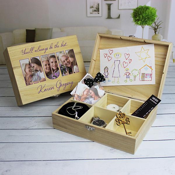 MUM Photo Gift - 6 Compartment Wooden Keepsake Box