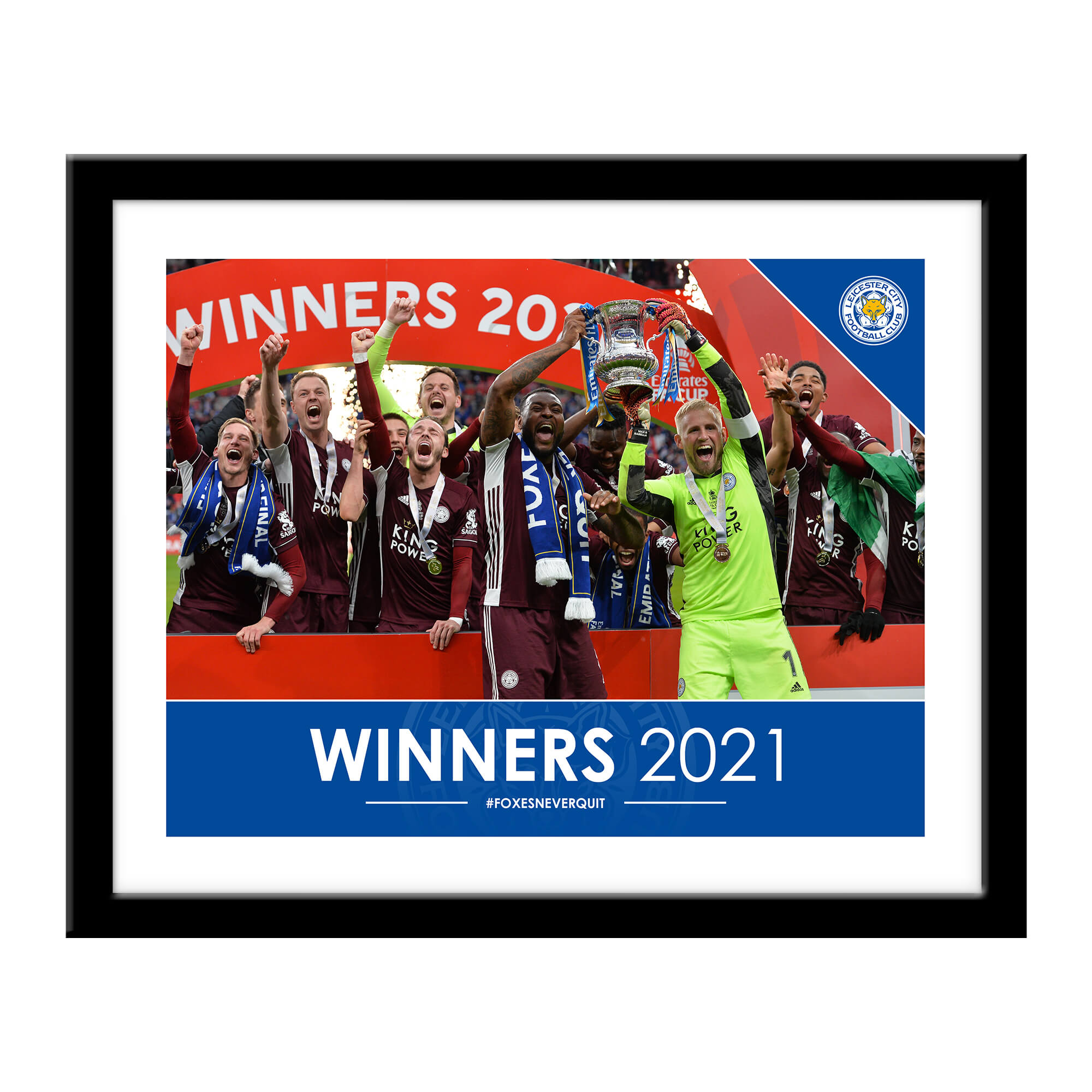 Personalised Leicester City FC Winners 2021 Framed Print