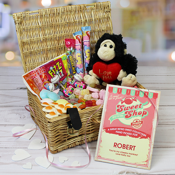 Valentine Sweet Hamper with Cheeky Monkey Cuddly Toy