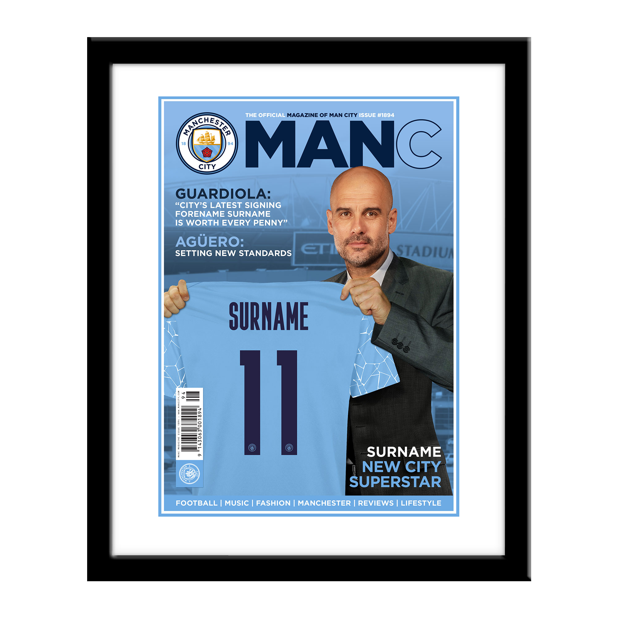 Manchester City FC Magazine Front Cover Framed Print
