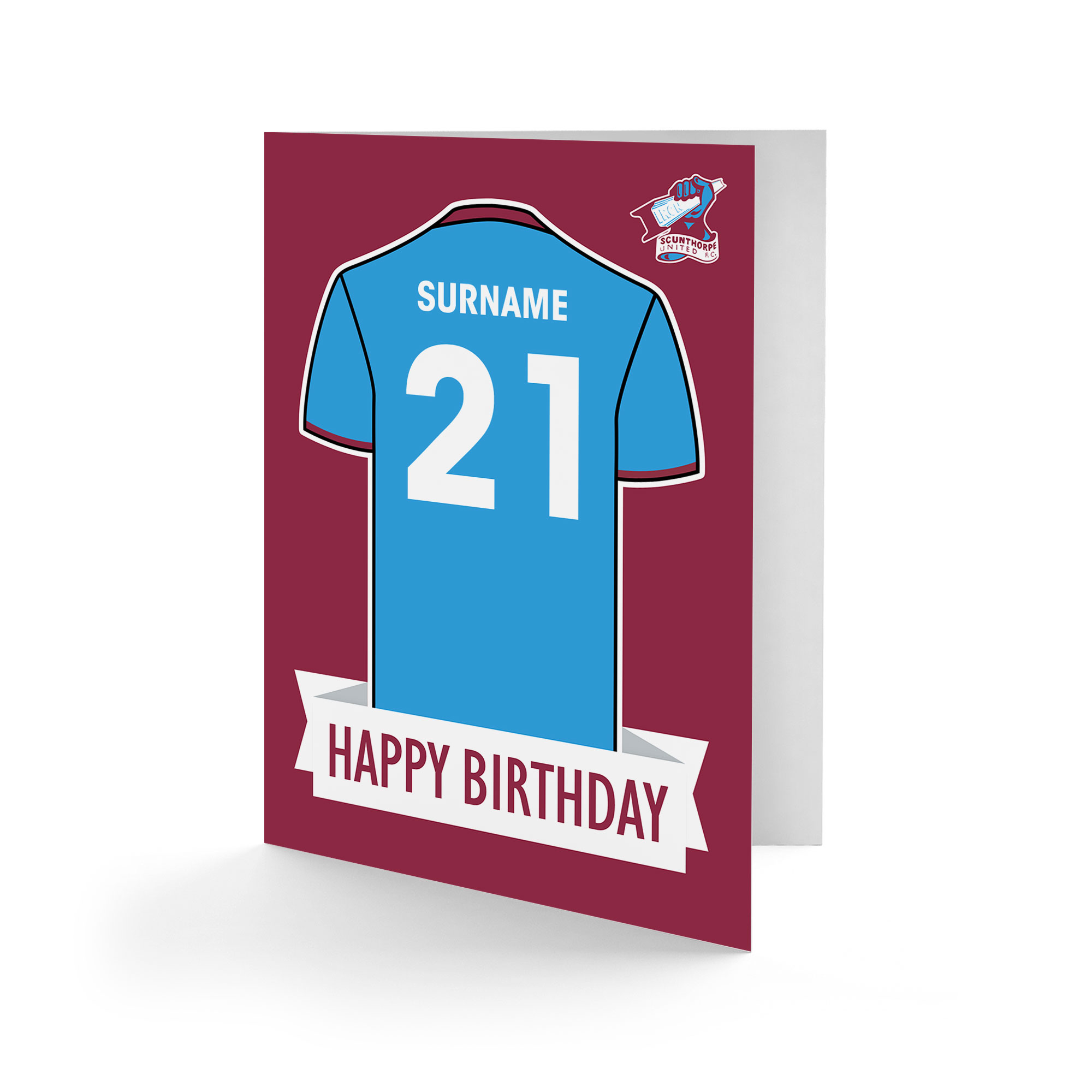 Scunthorpe United FC Shirt Birthday Card