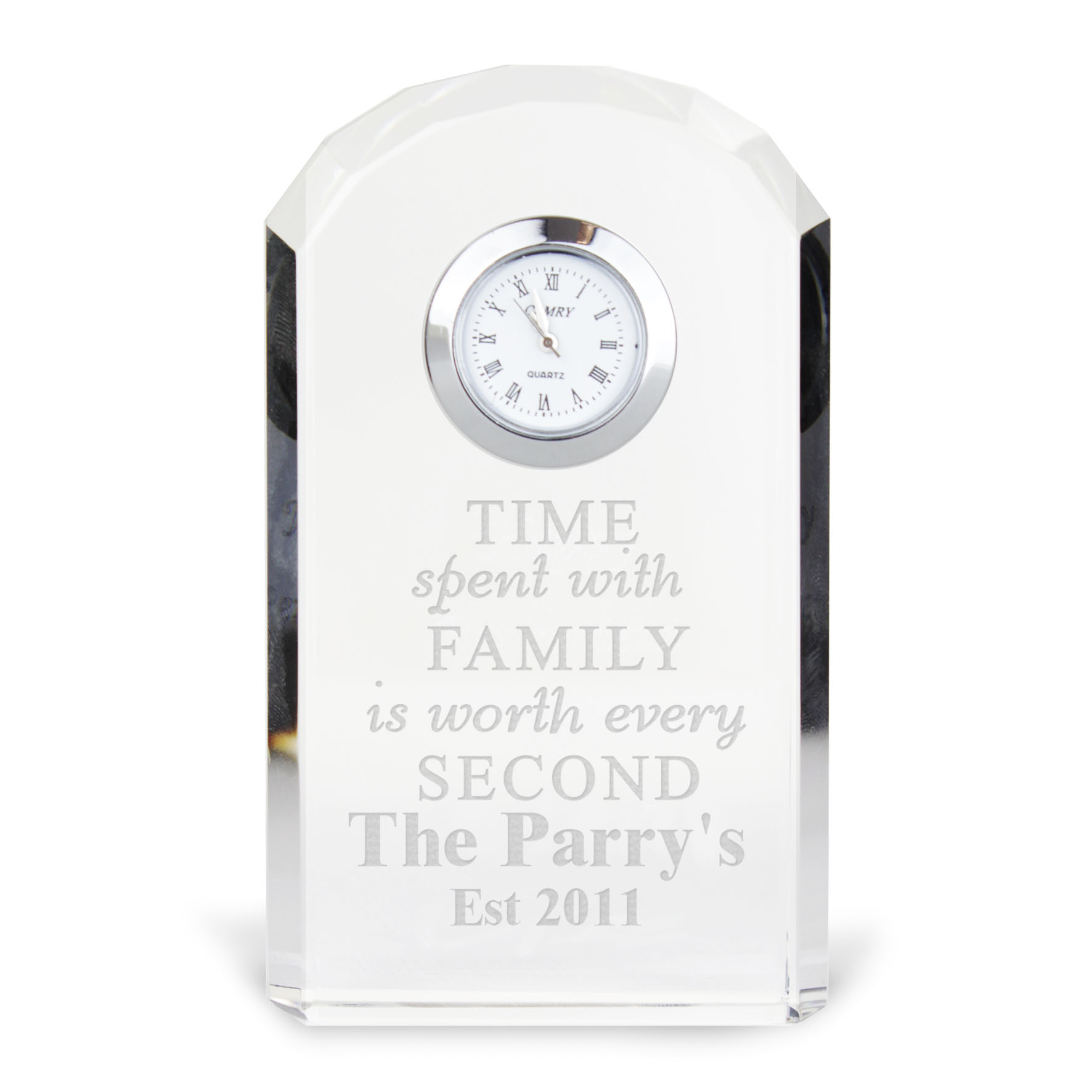 Engraved Time Spent With Family Crystal Clock