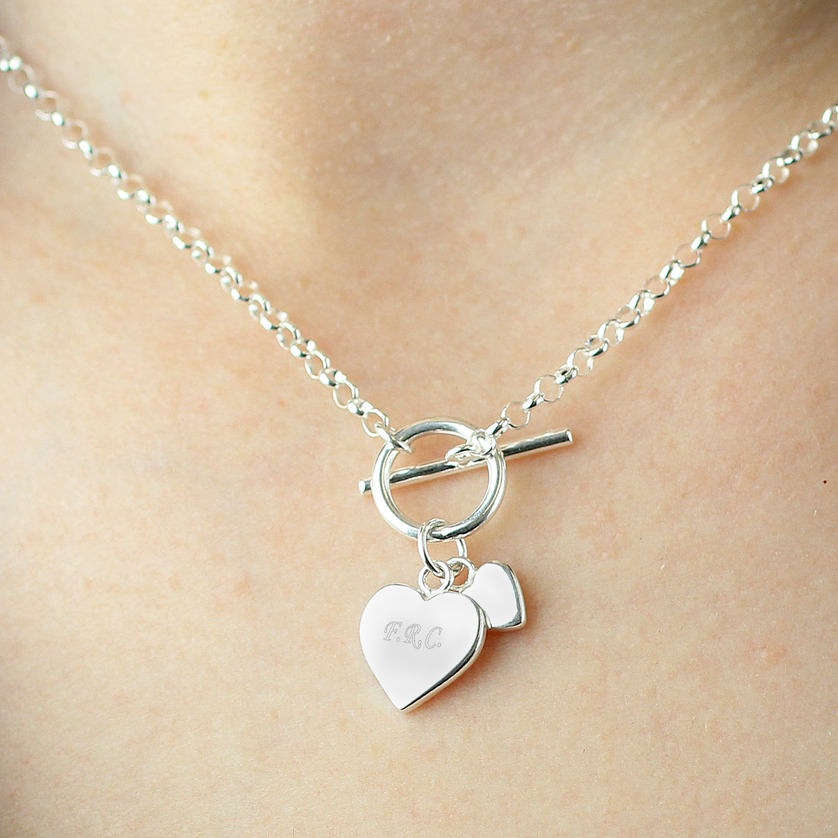 Engraved Hearts T-Bar Necklace